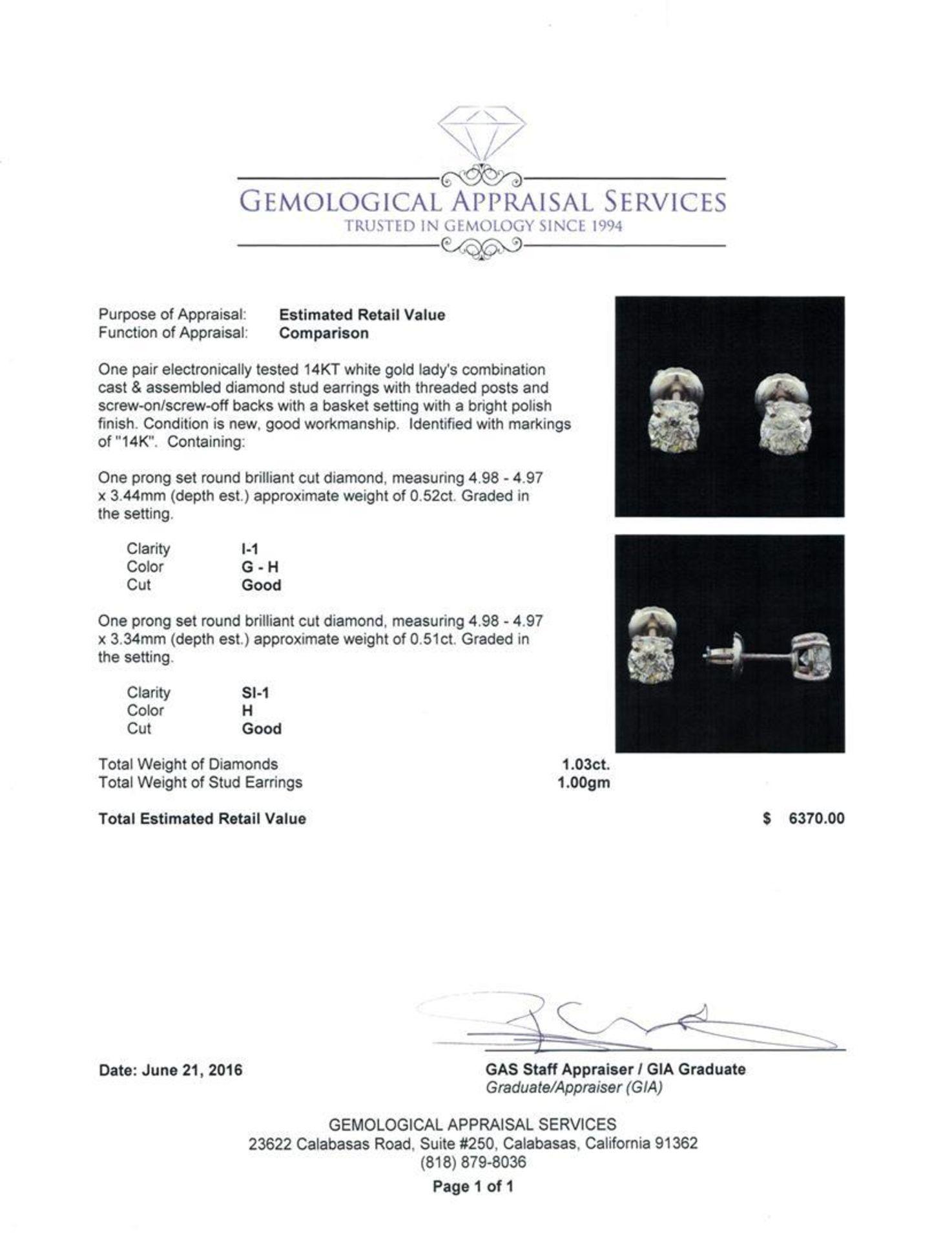 1.03 ctw Diamond Stud Earrings - 14KT White Gold - Image 3 of 3