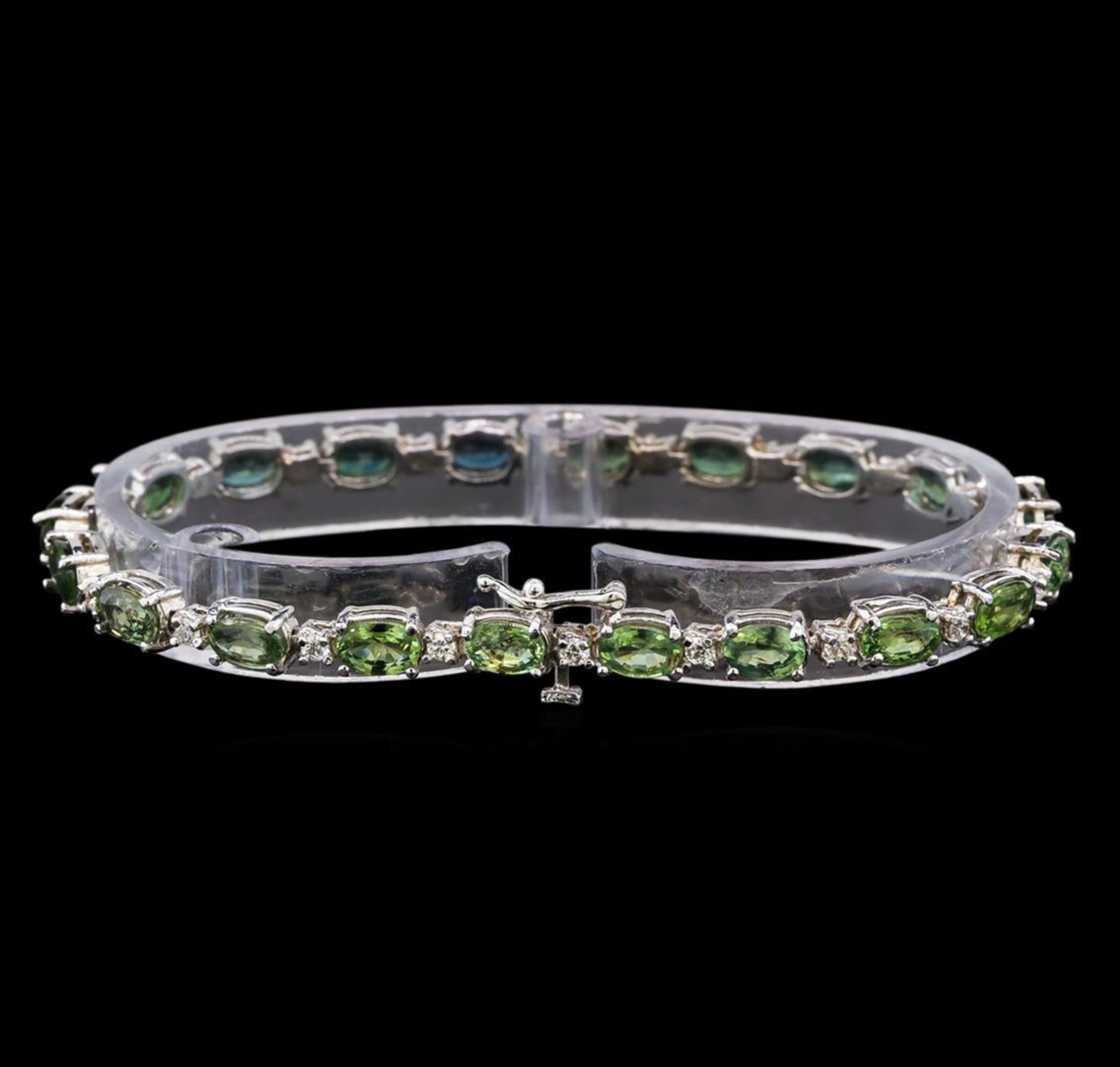 14KT White Gold 11.20 ctw Green Sapphire and Diamond Bracelet - Image 2 of 4