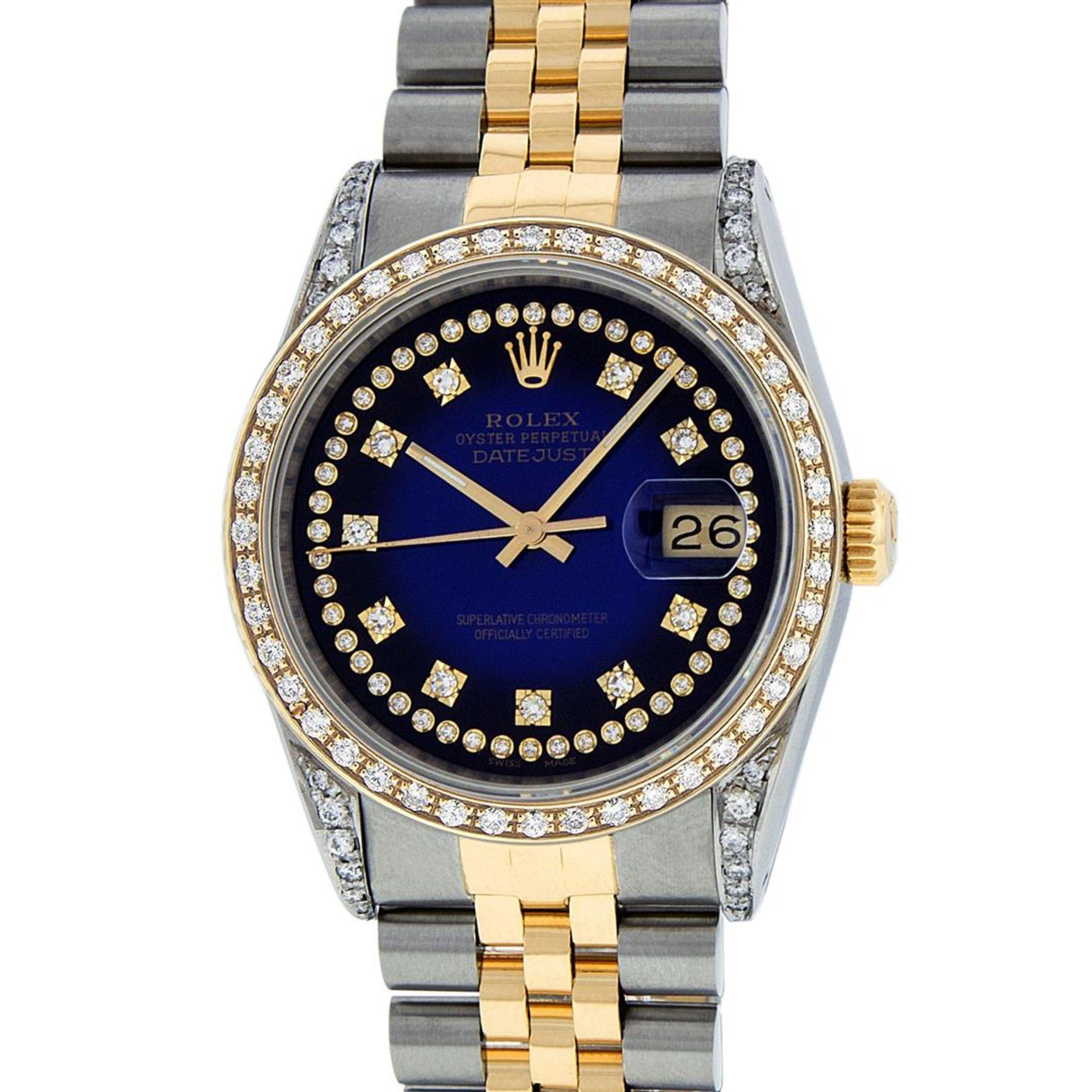 Rolex Mens 2 Tone Blue Vignette String Diamond Lugs Datejust Wristwatch - Image 2 of 8