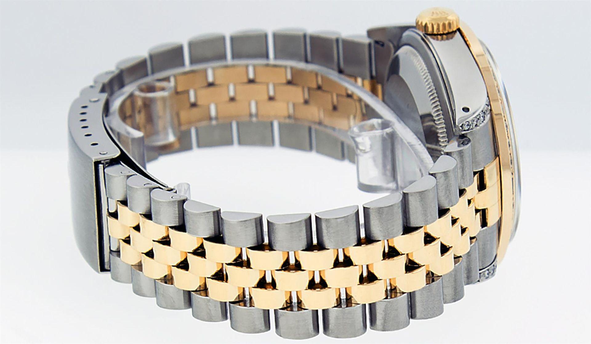 Rolex Mens 2 Tone Blue Vignette String Diamond Lugs Datejust Wristwatch - Image 3 of 8