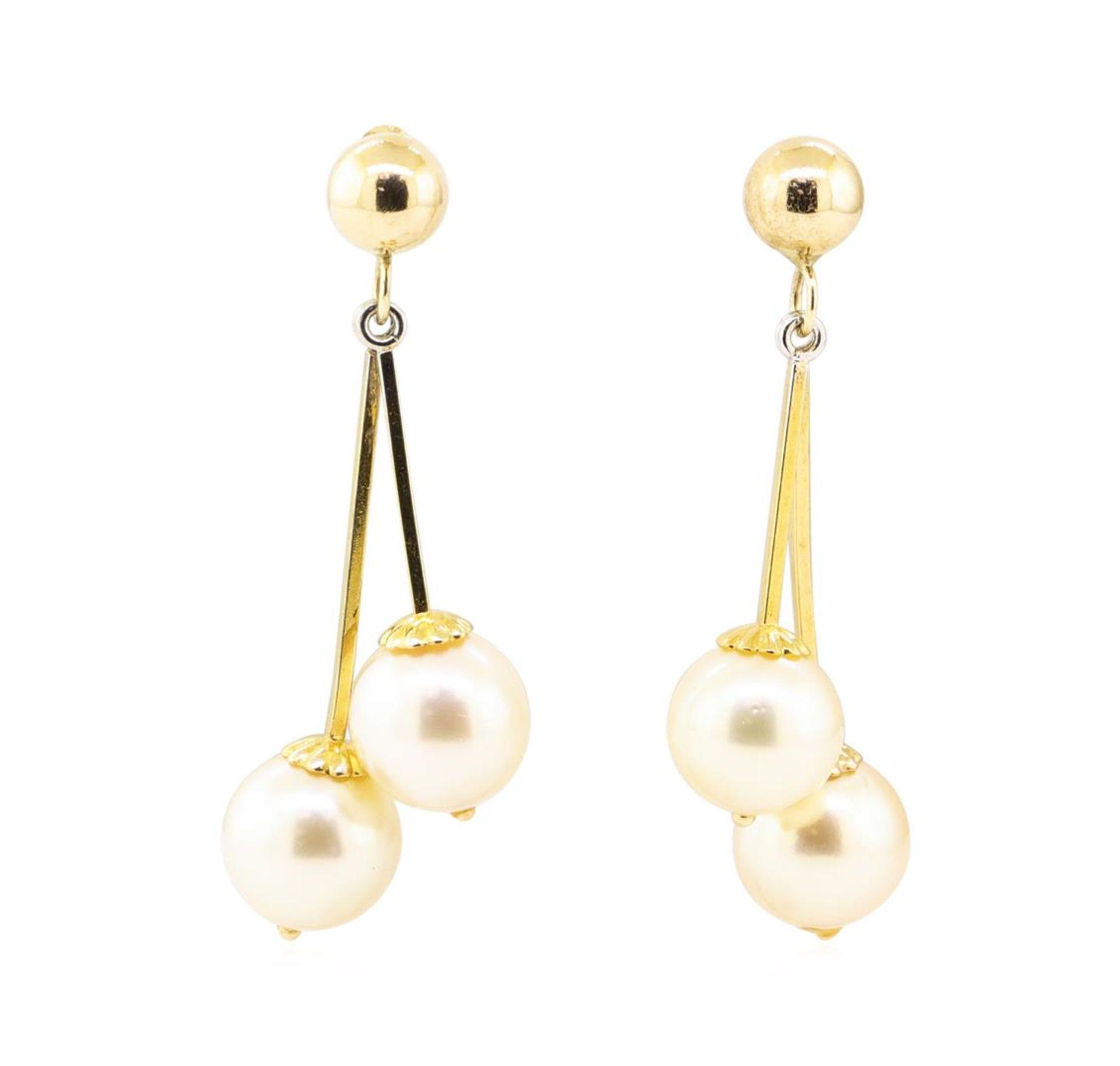 Pearl Double Dangle Earrings - 14KT Yellow Gold