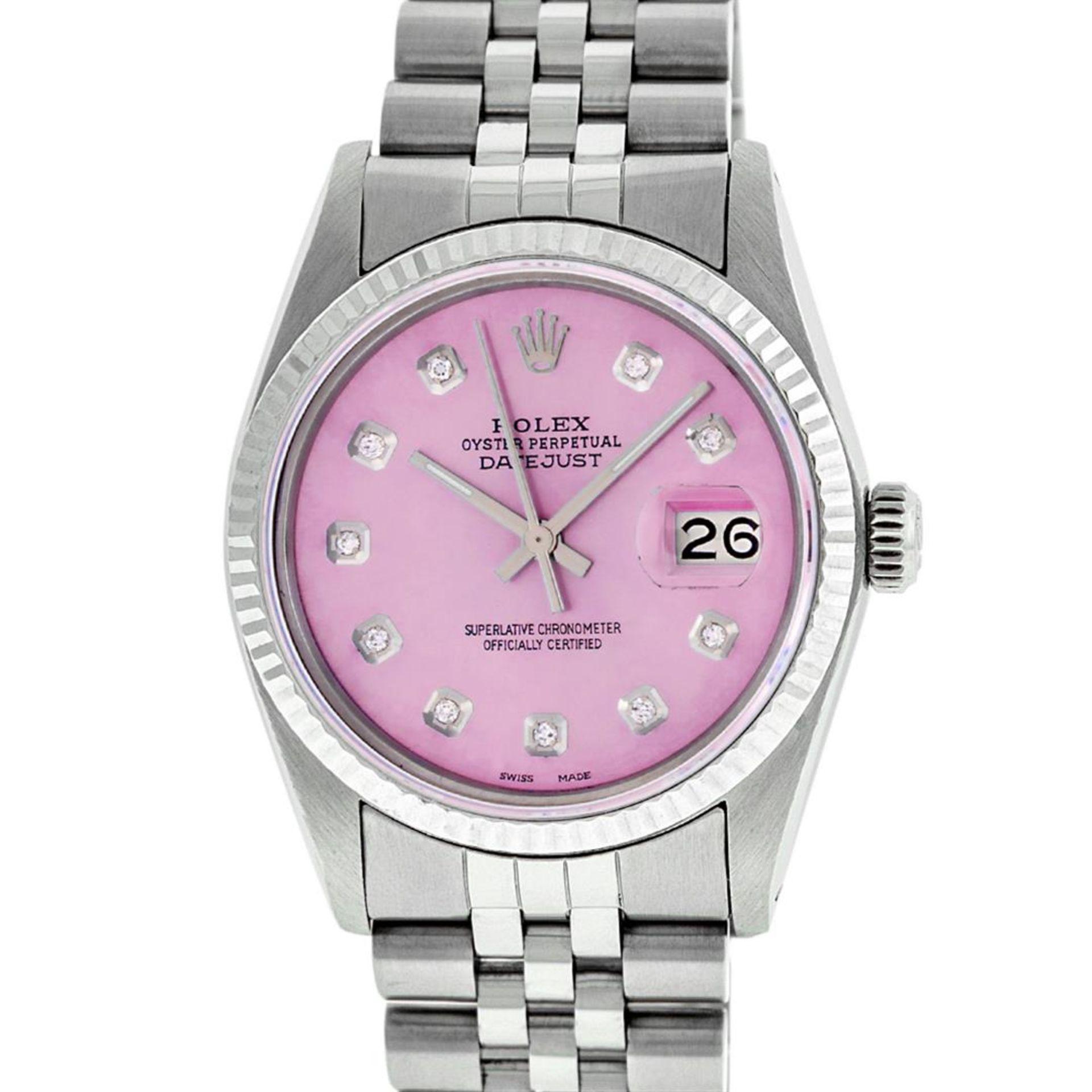 Rolex Ladies 2 Tone Pink MOP Diamond & Sapphire String Datejust Wristwatch - Image 2 of 9