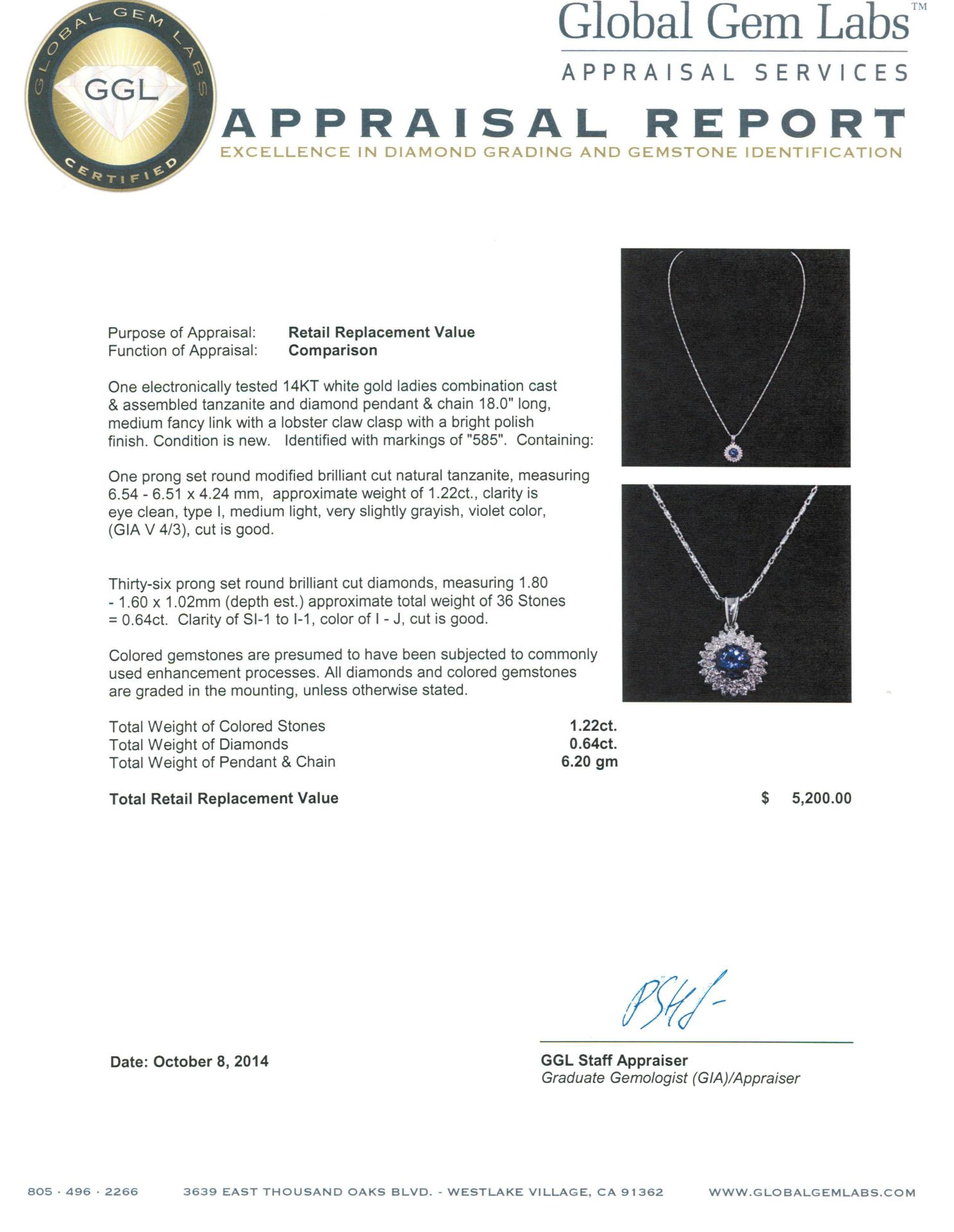 14KT White Gold 1.22 ctw Tanzanite and Diamond Pendant With Chain - Image 3 of 3