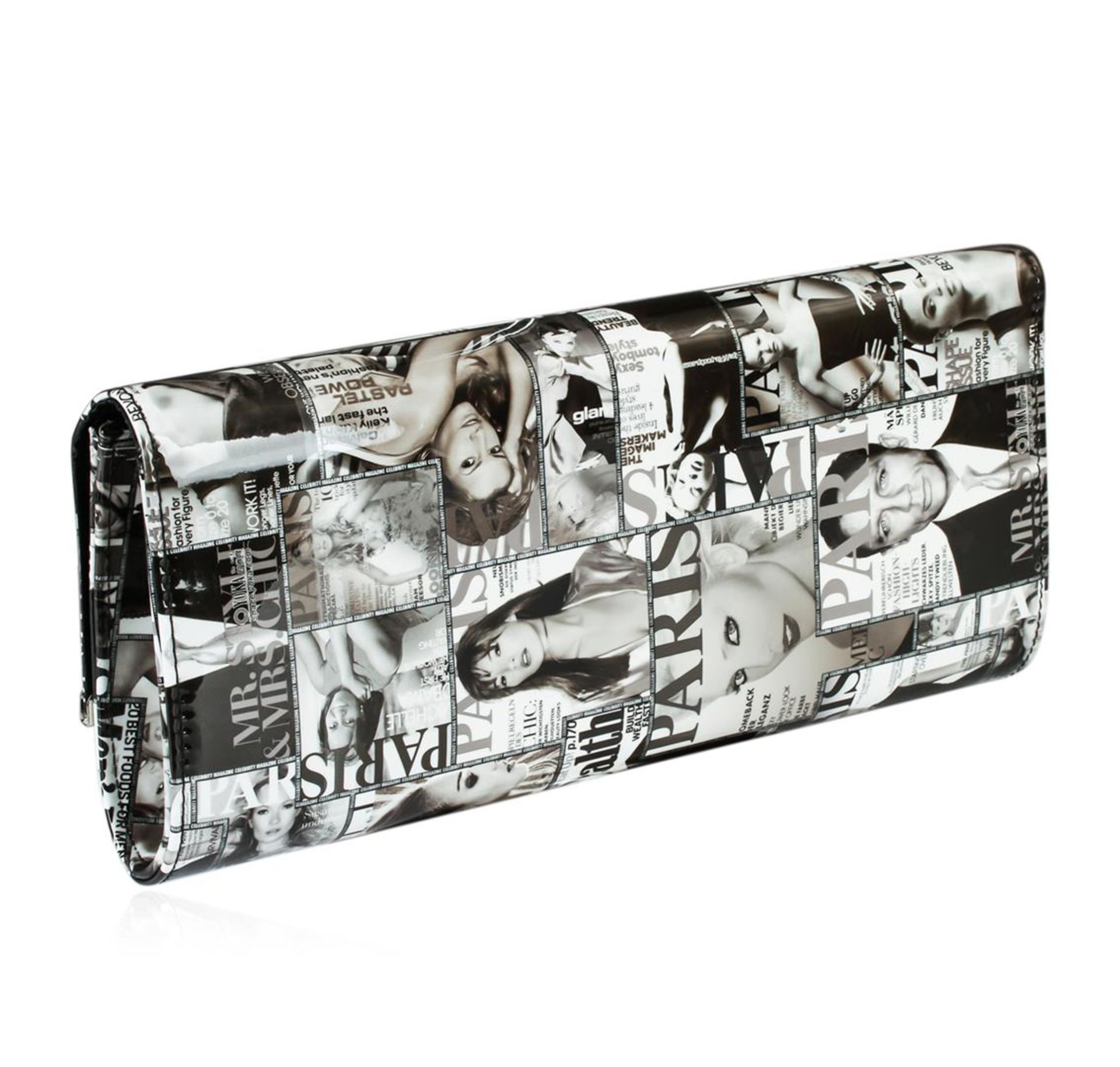 Black and White Fashionista Patent Oversized Clutch - Image 2 of 3