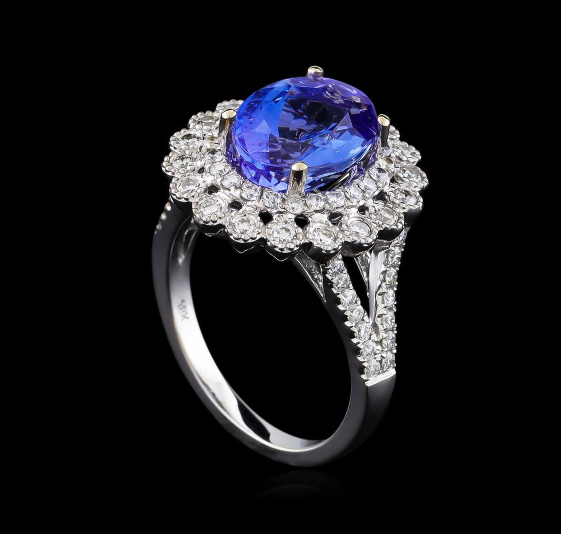 18KT White Gold 3.95 ctw Tanzanite and Diamond Ring - Image 4 of 5