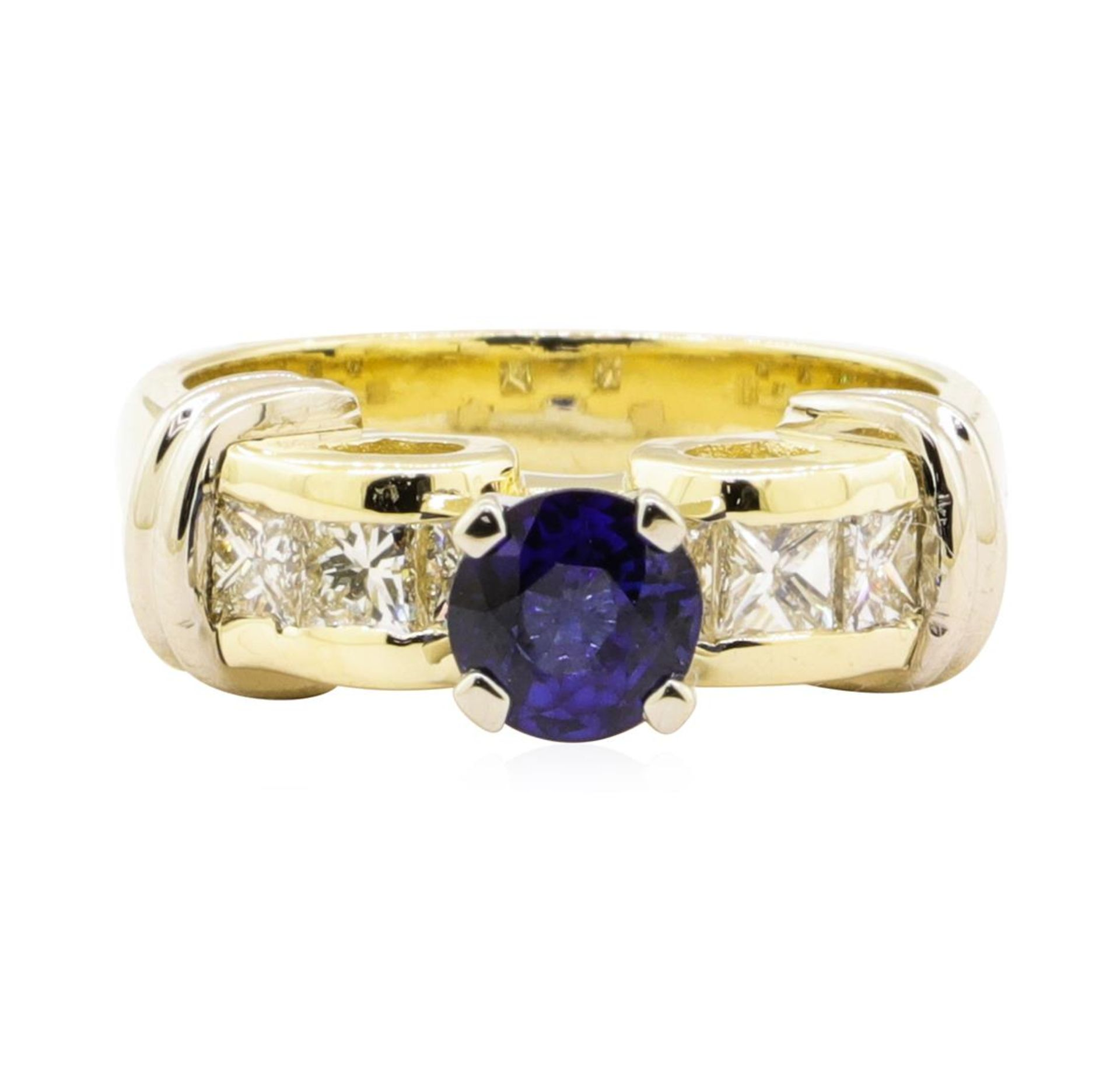 1.67 ctw Blue Sapphire And Diamond Ring - 14KT Yellow And White Gold - Image 2 of 5