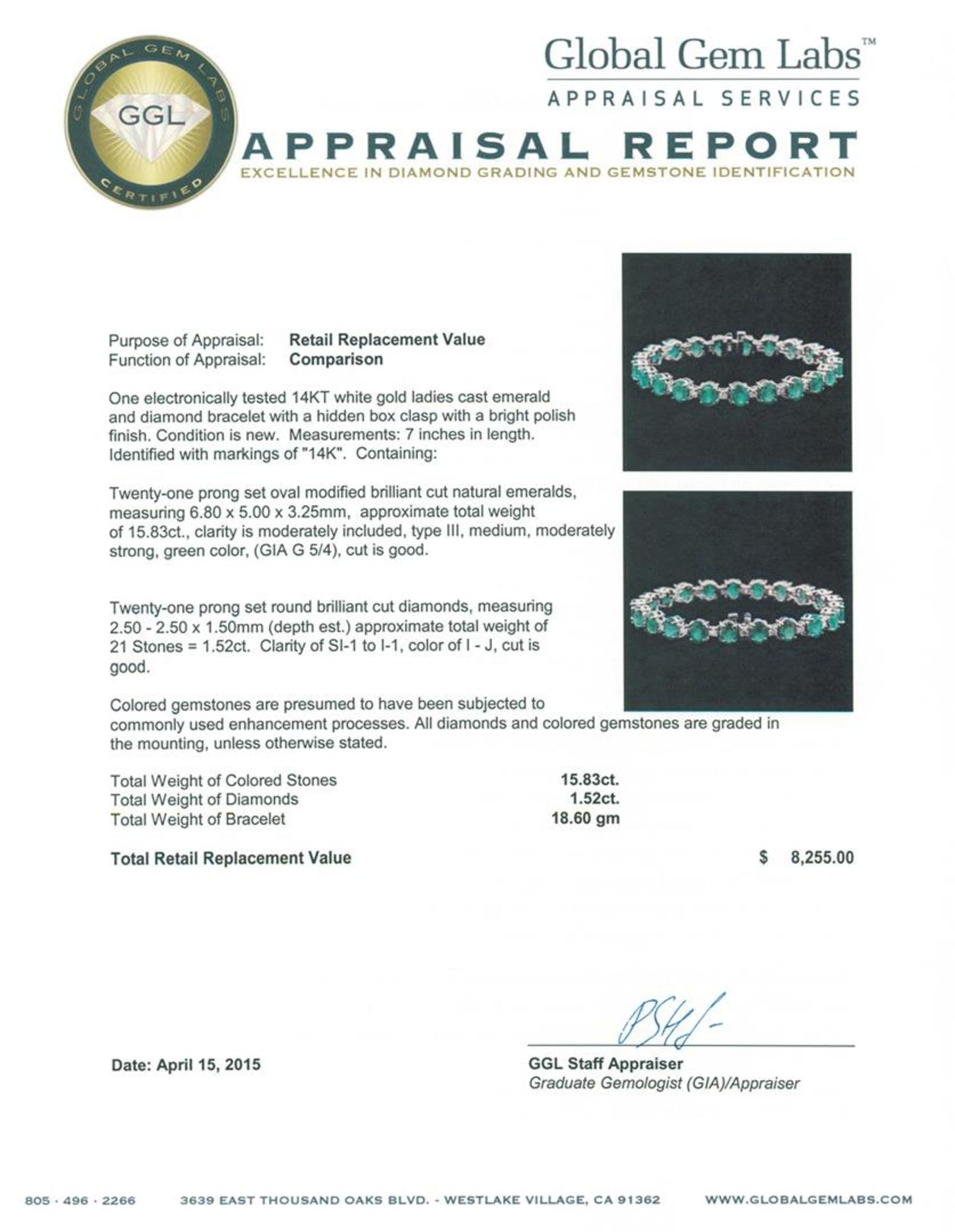 14KT White Gold 15.83 ctw Emerald and Diamond Bracelet - Image 4 of 4