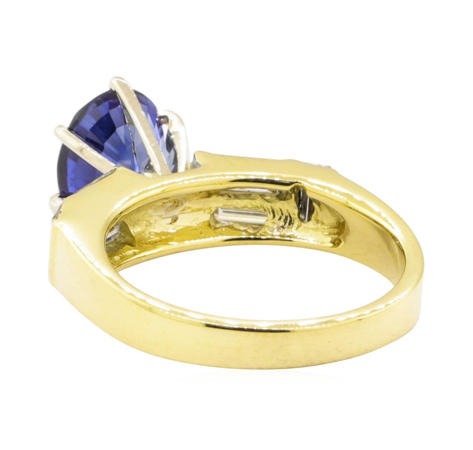 2.93 ctw Blue Sapphire And Diamond With Elevated Shoulders - 18KT Yellow Gold - Image 3 of 5
