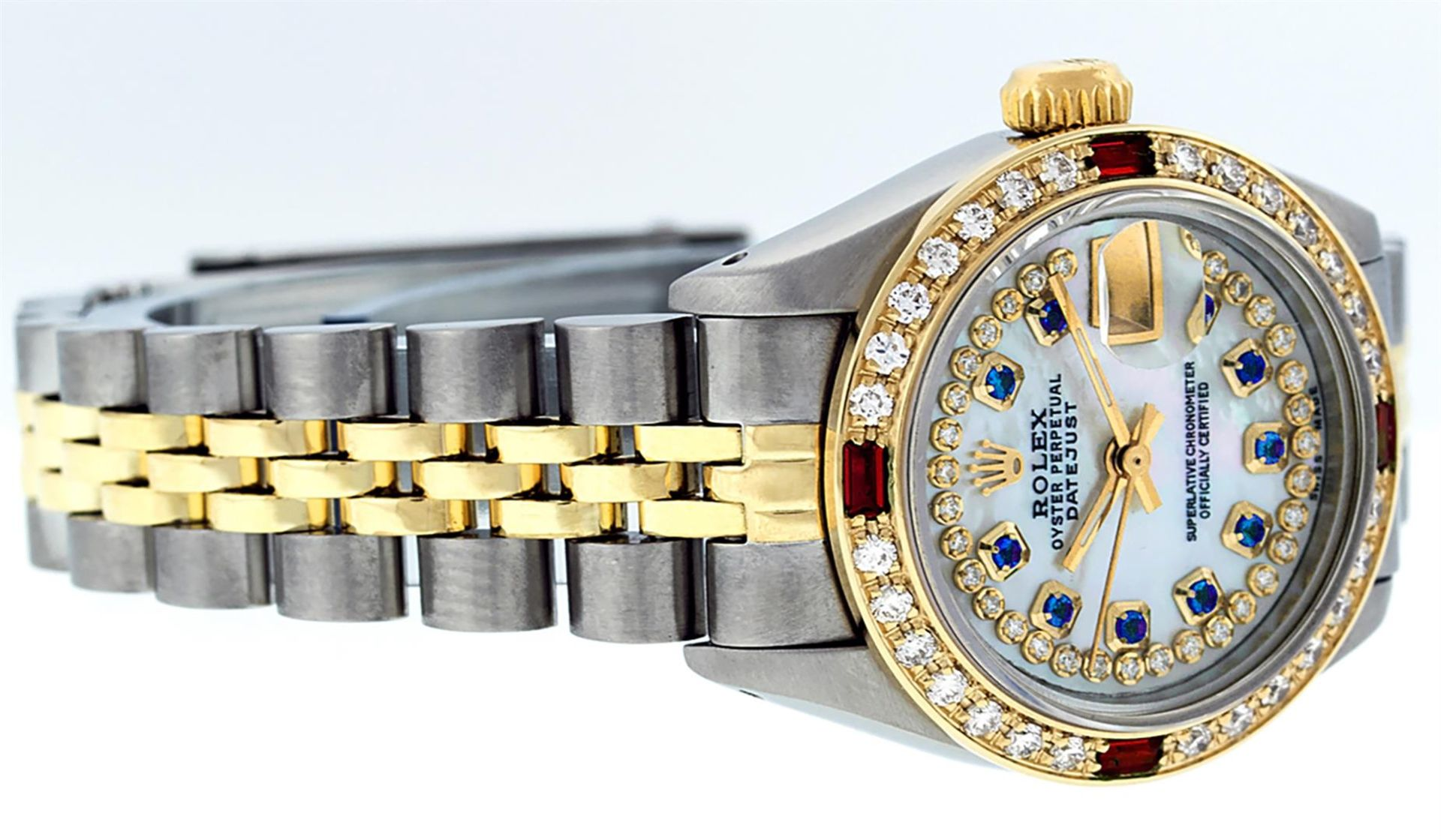 Rolex Ladies 2 Tone MOP Sapphire & Ruby 26MM Oyster Perpetual Datejust Wriswatch - Image 2 of 9