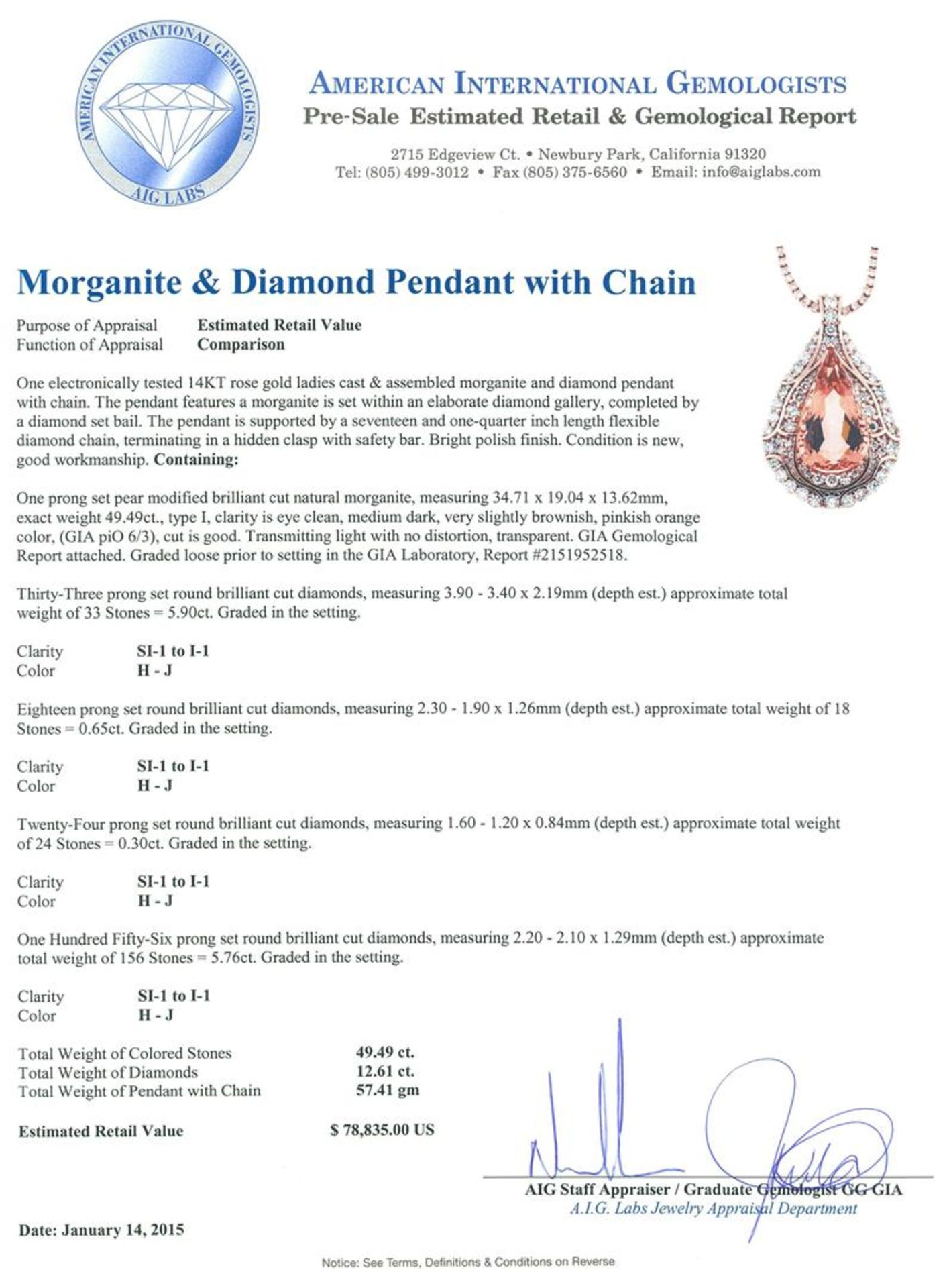 14KT Rose Gold GIA Certified 49.49ct Morganite and Diamond Pendant With Chain - Image 3 of 4