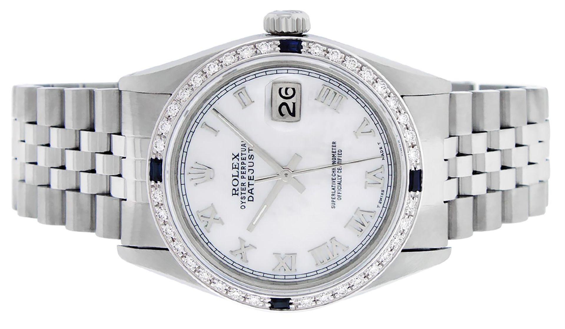 Rolex Mens Stainless Steel MOP Roman 36MM Diamond & Sapphire Datejust Wristwatch - Image 8 of 9