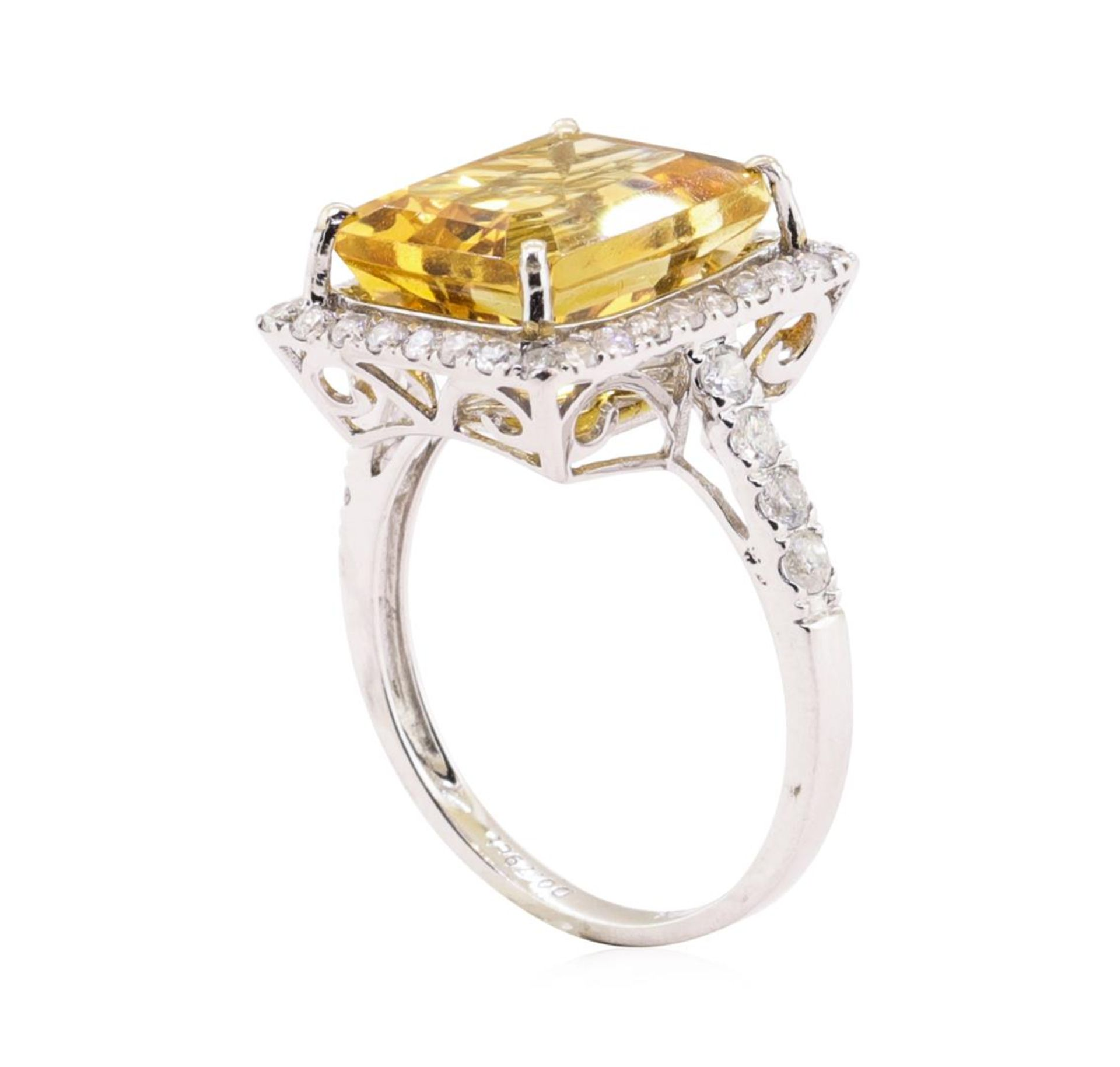 6.25ct Citrine and Diamond Ring - 14KT White Gold - Image 4 of 5