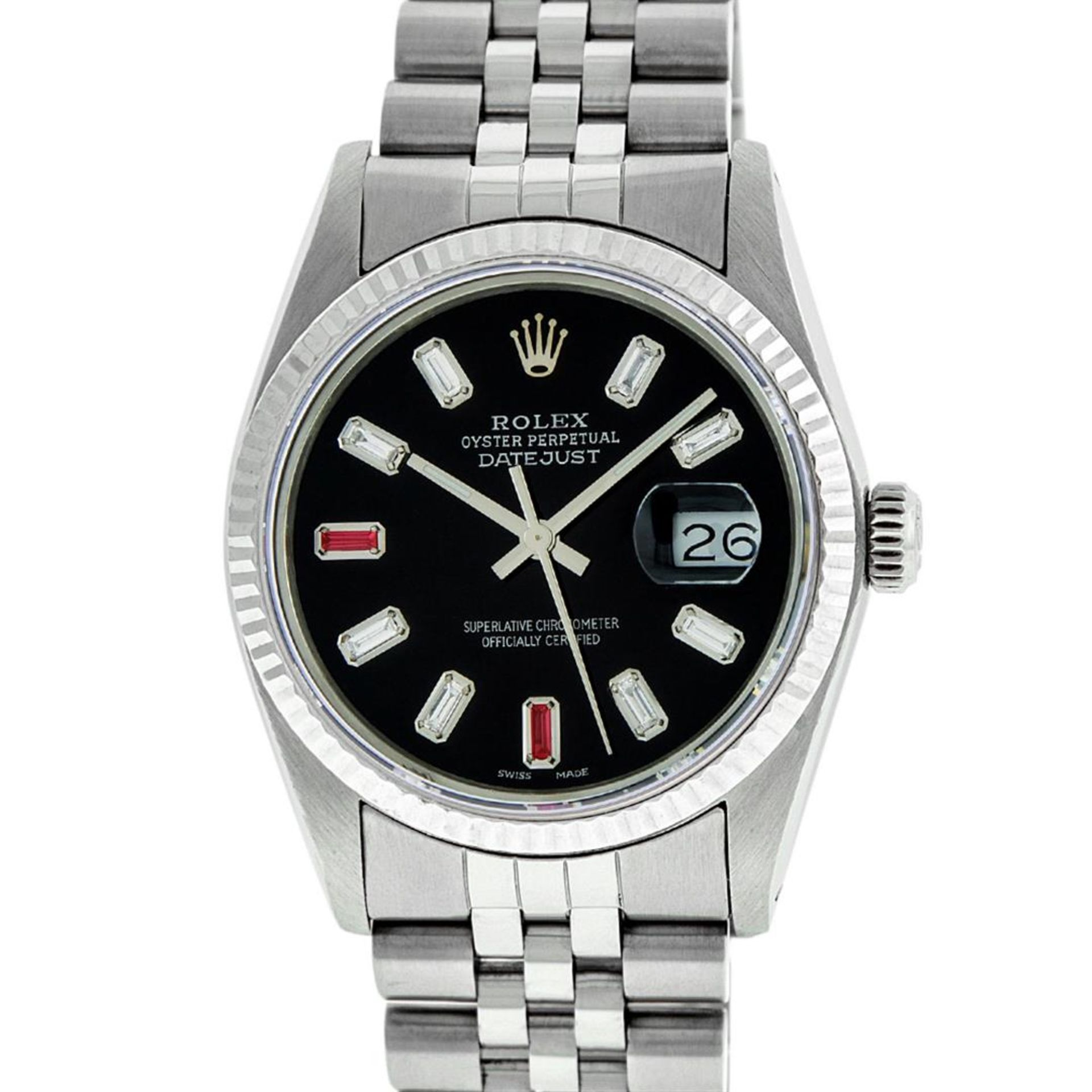 Rolex Mens Stainless Steel 36mm Black Diamond Dial Datejust Wristwatch - Image 2 of 9