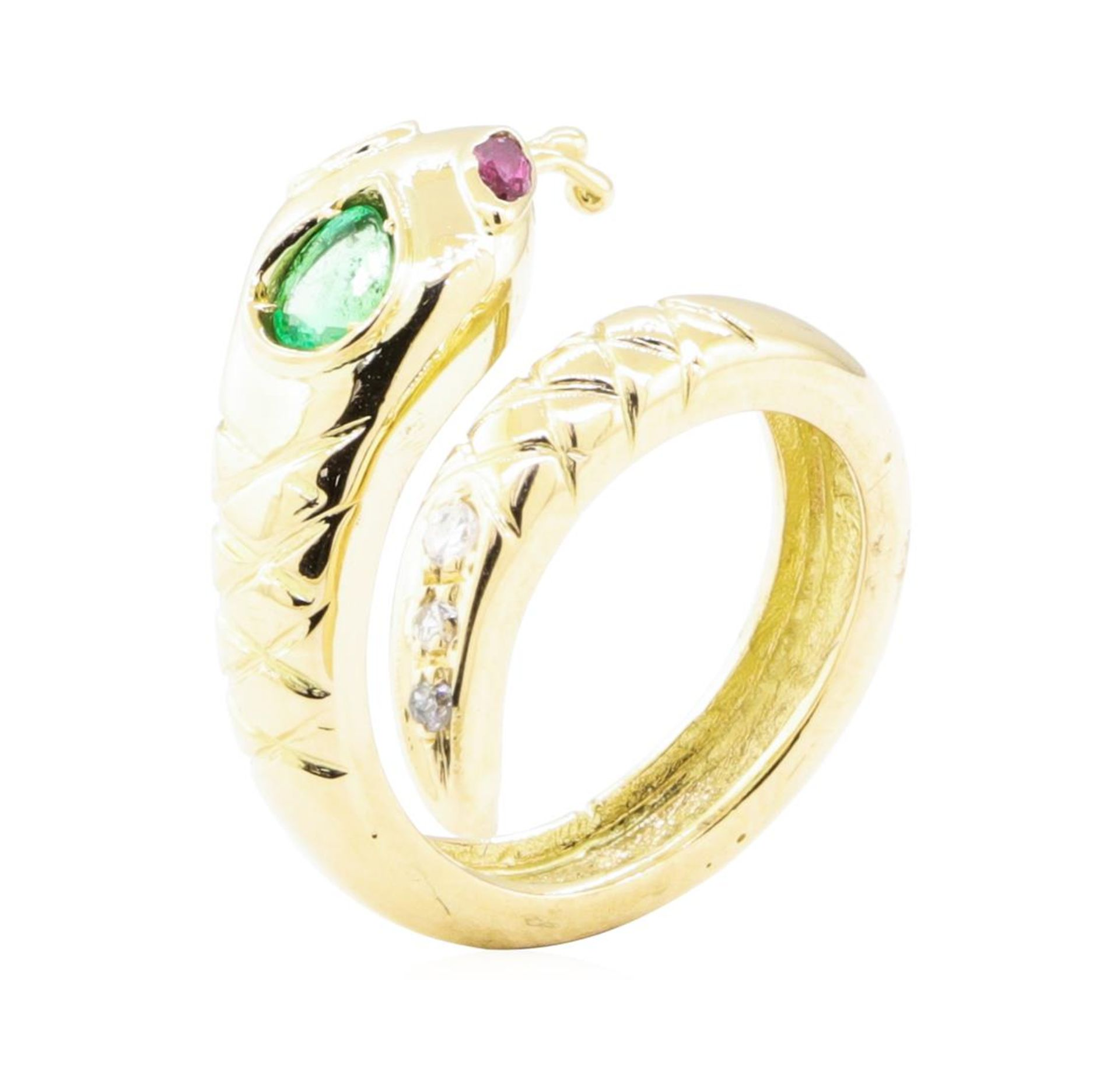 0.66ctw Emerald, Ruby, and Diamond Snake Ring - 14KT Yellow Gold - Image 4 of 4