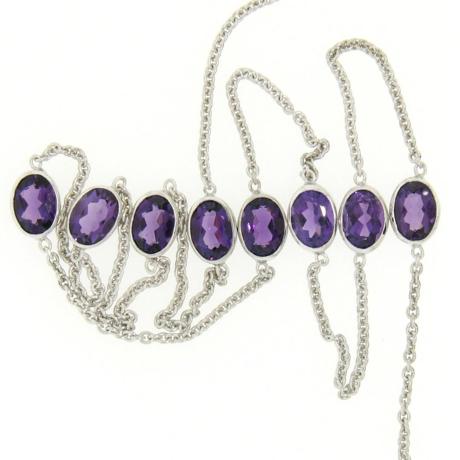 """14k White Gold 8 ctw 8 Station Amethyst by the Yard 20"""" Cable Link Chain Necklac - Image 4 of 7"""