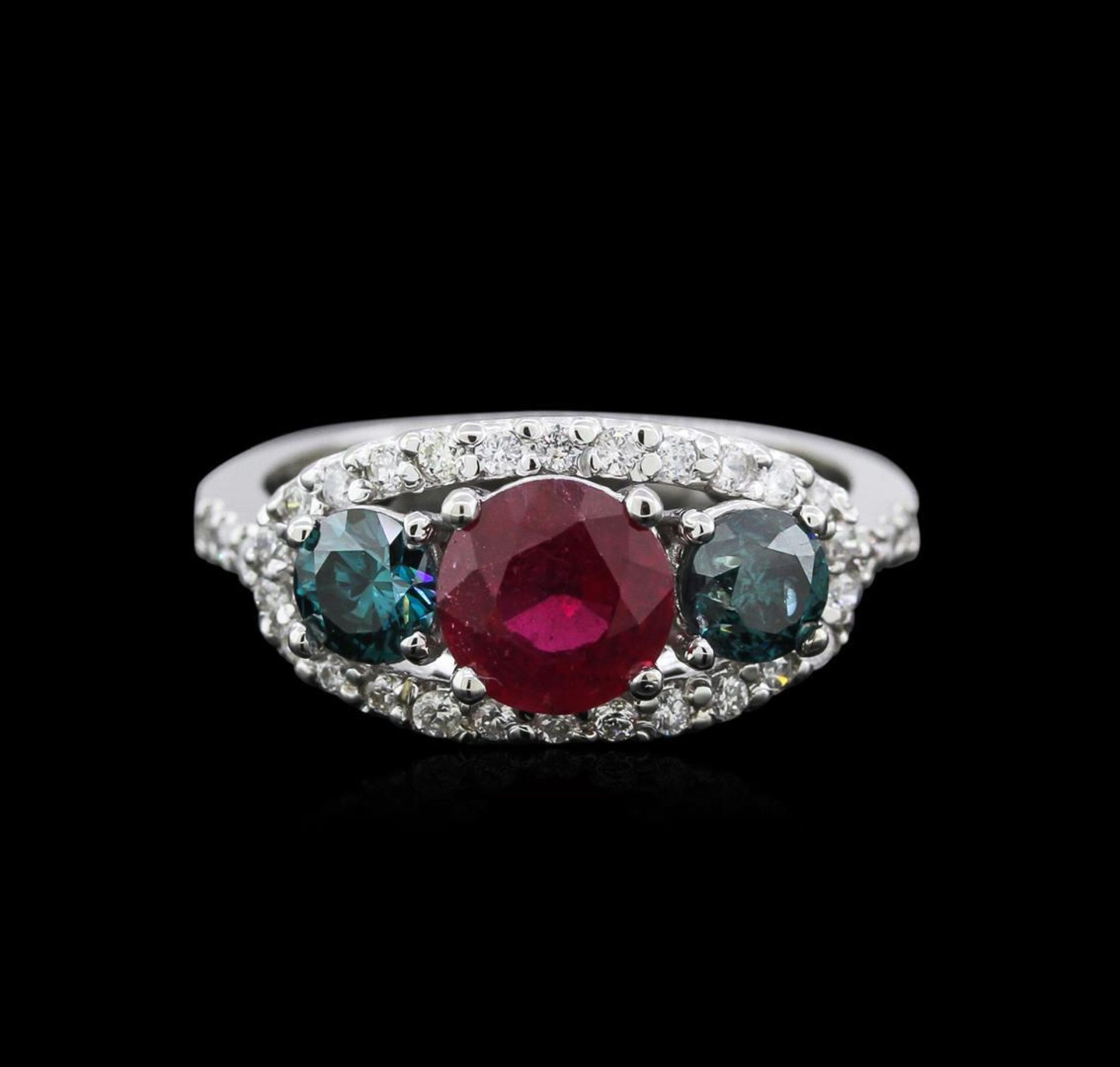 1.40 ctw Ruby and Diamond Ring - 14KT White Gold - Image 2 of 4