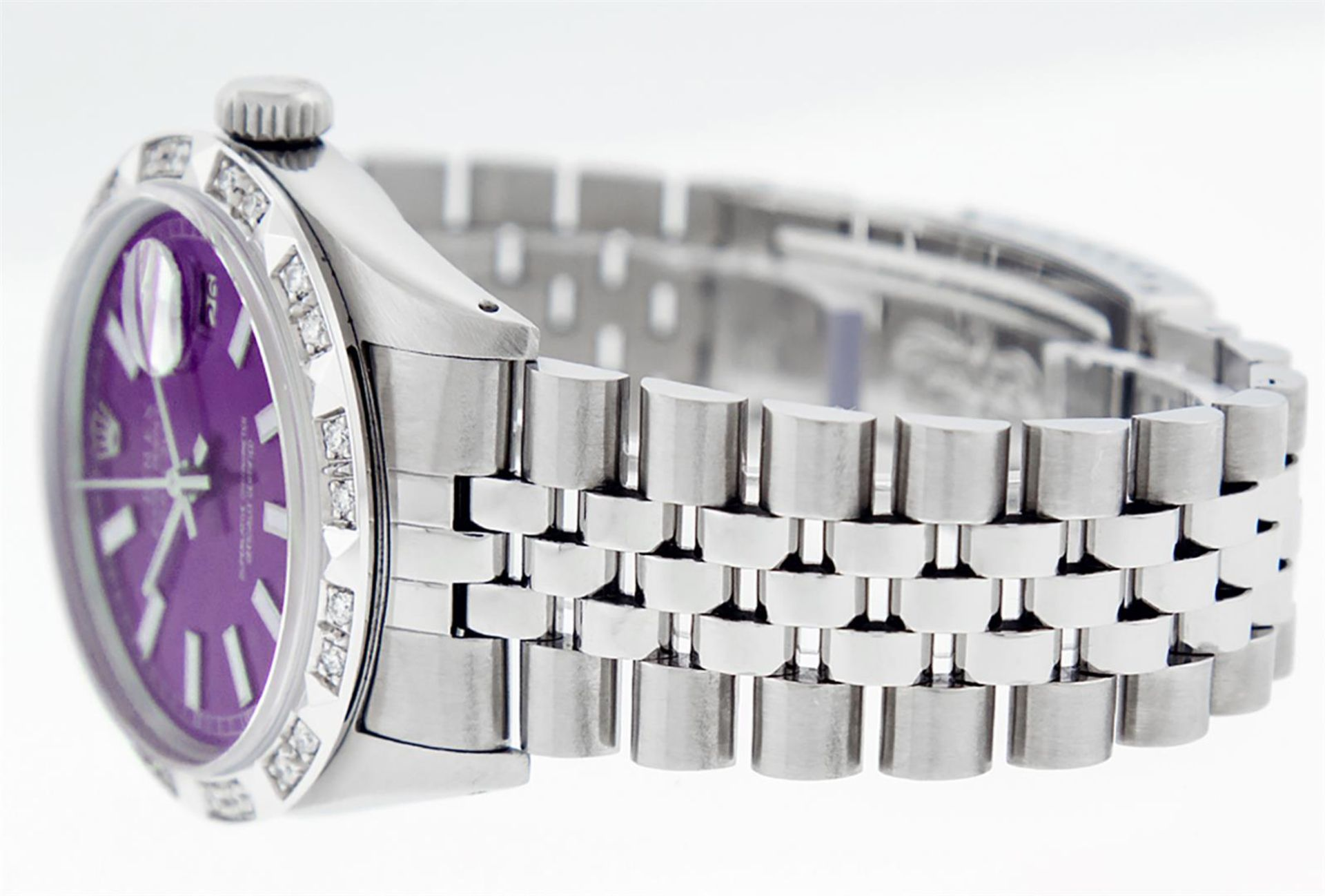 Rolex Mens Stainless Steel 36MM Purple Index Pyramid Diamond Datejust Wristwatch - Image 7 of 9