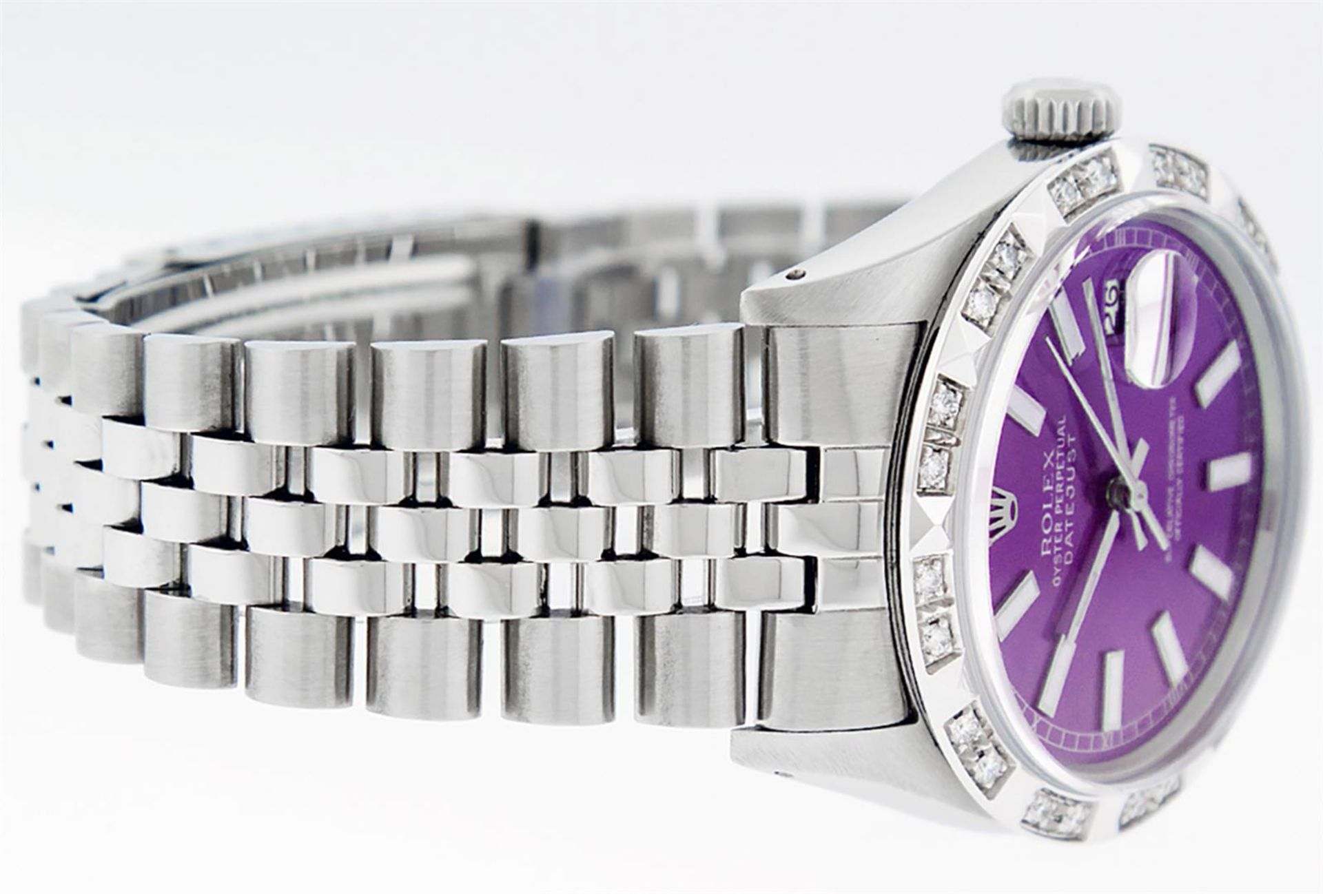 Rolex Mens Stainless Steel 36MM Purple Index Pyramid Diamond Datejust Wristwatch - Image 3 of 9