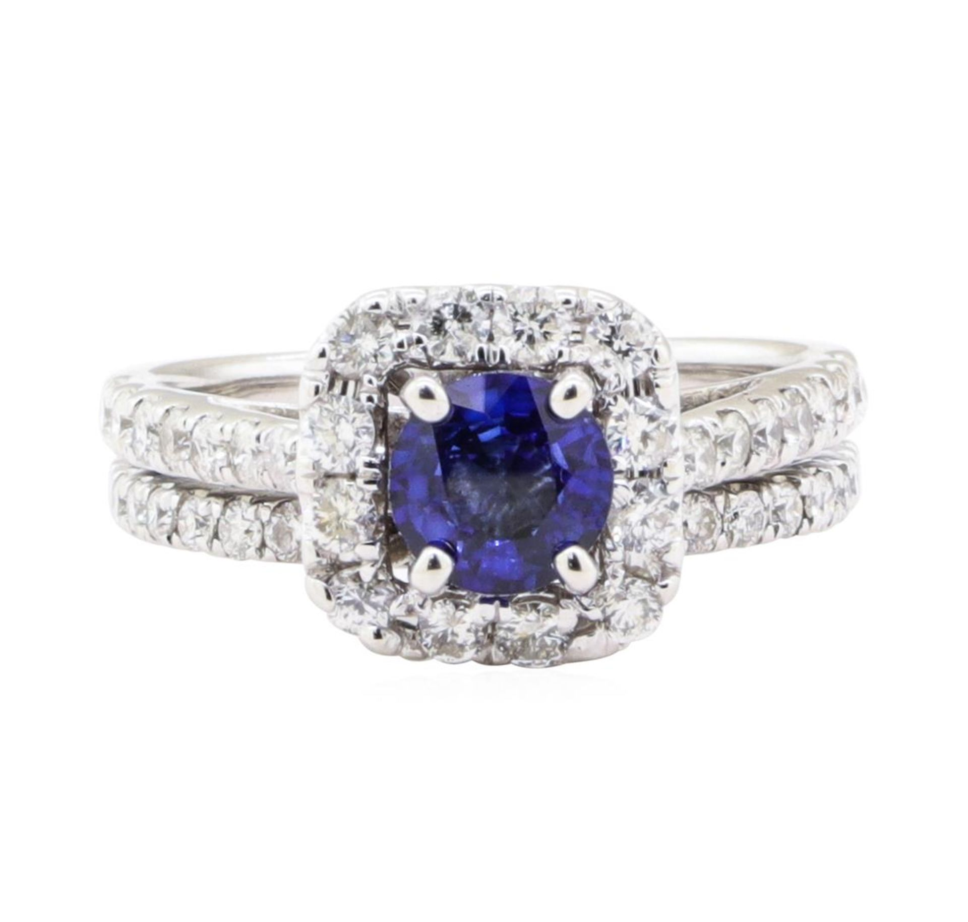 1.66 ctw Sapphire And Diamond Ring And Attached Band - 14KT White Gold - Image 2 of 5