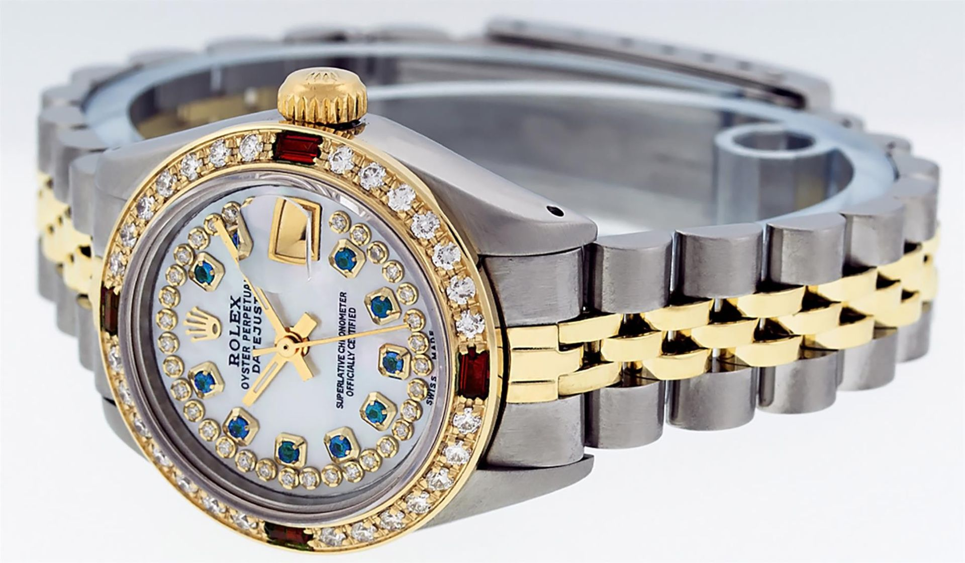 Rolex Ladies 2 Tone MOP Sapphire & Ruby 26MM Oyster Perpetual Datejust Wriswatch - Image 9 of 9