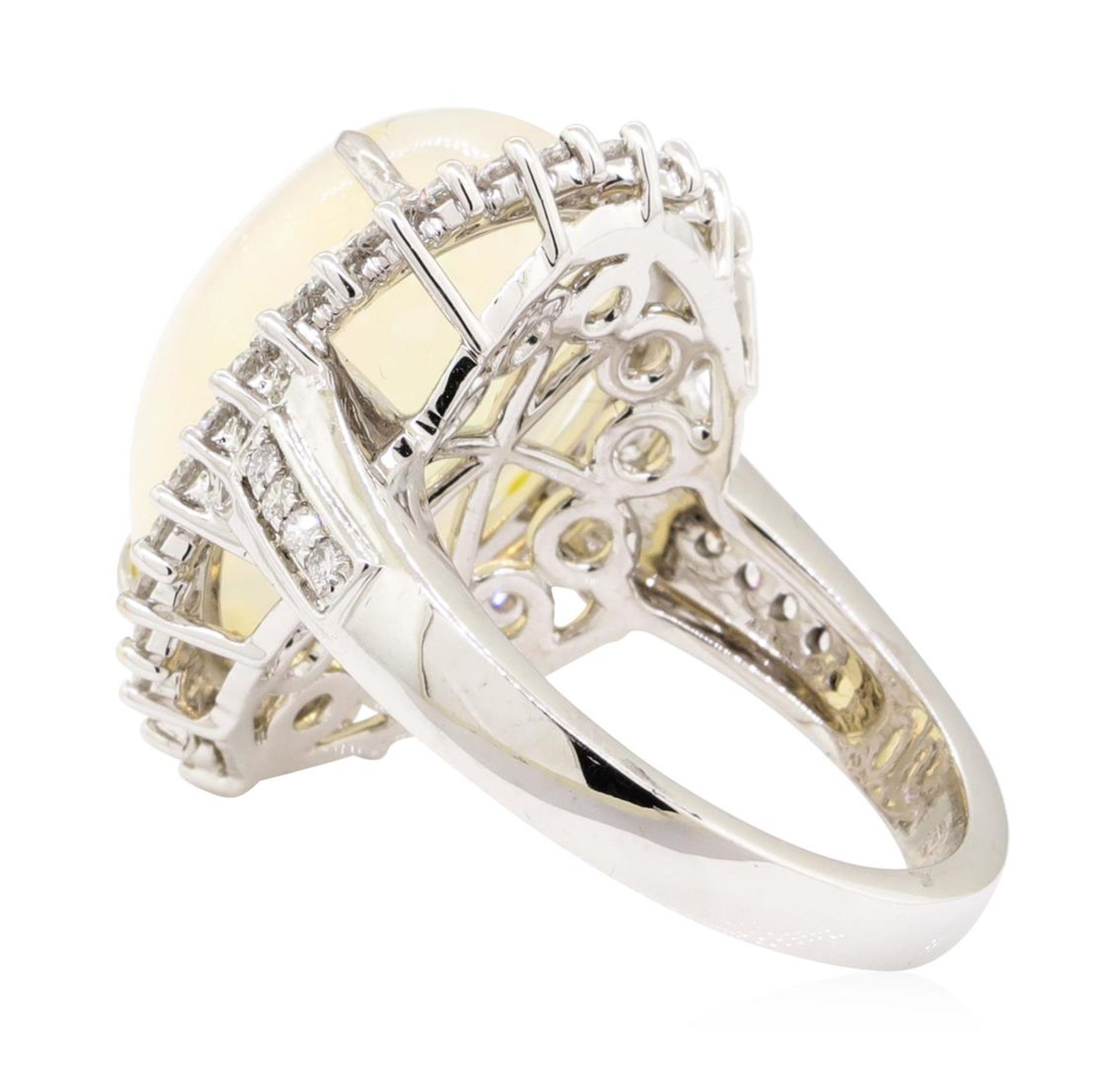 9.12 ctw Cabochon Pear Crystal Opal And Round Brilliant Cut Diamond Ring - 14KT - Image 3 of 5