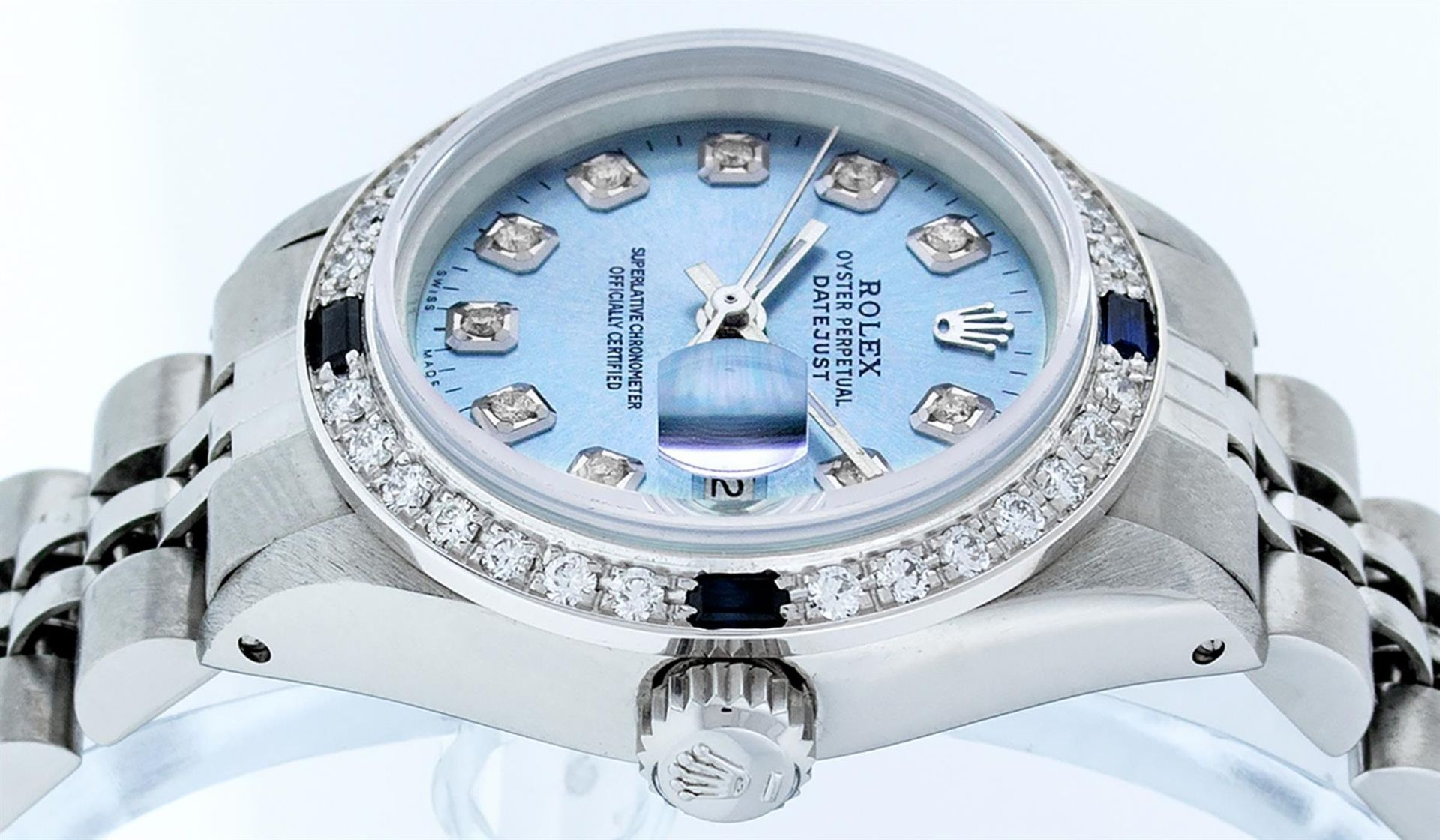 Rolex Ladies Stainless Steel Sky Blue Diamond & Sapphire Datejust Wristwatch - Image 4 of 9