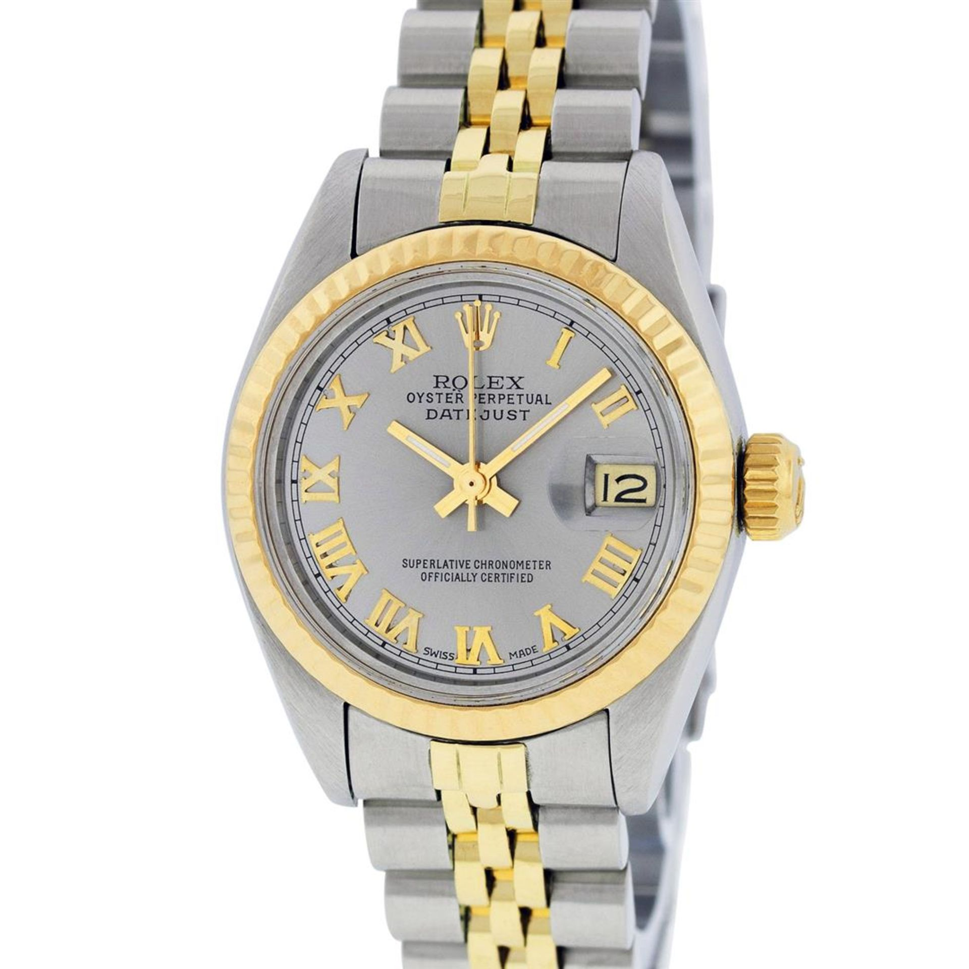 Rolex Ladies 2 Tone Yellow Gold & Stainless Steel Slate Grey Roman Datejust Wris - Image 3 of 9