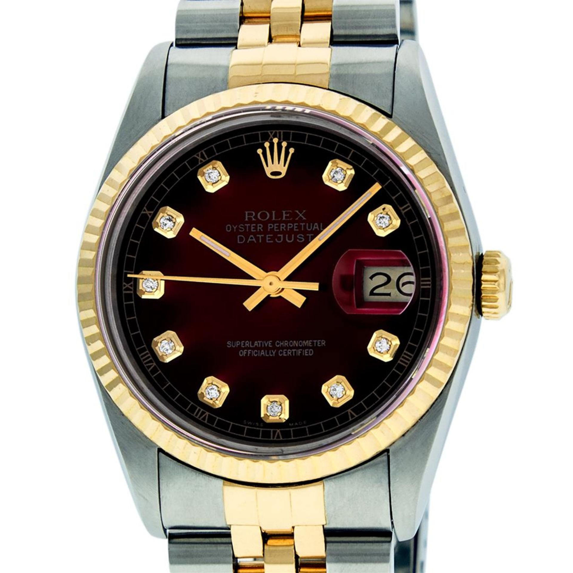 Rolex Mens 2 Tone Red Vignette Diamond 36MM Oyster Perpetual Datejust Wriswatch