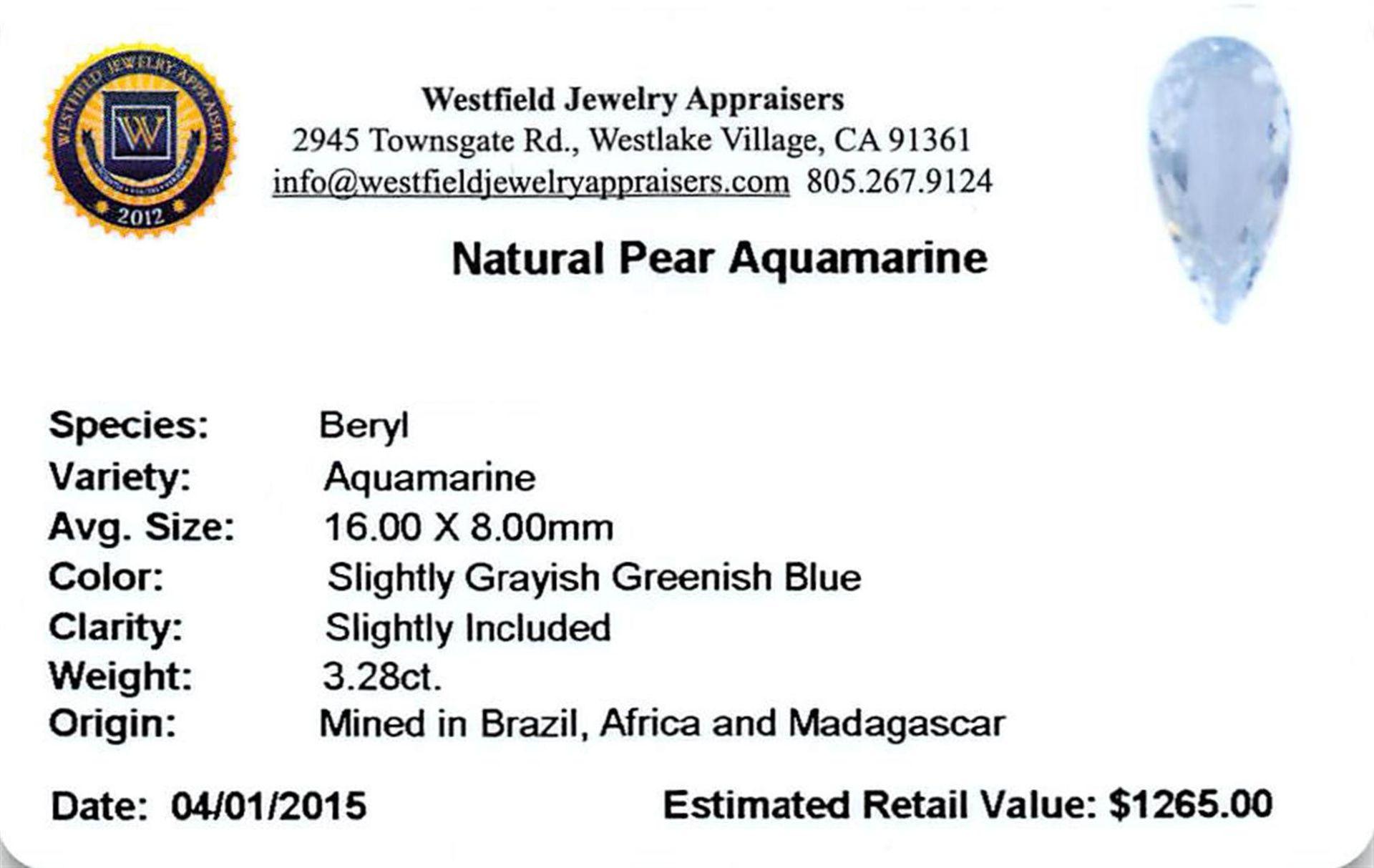 3.28ctw Pear Aquamarine Parcel - Image 2 of 2