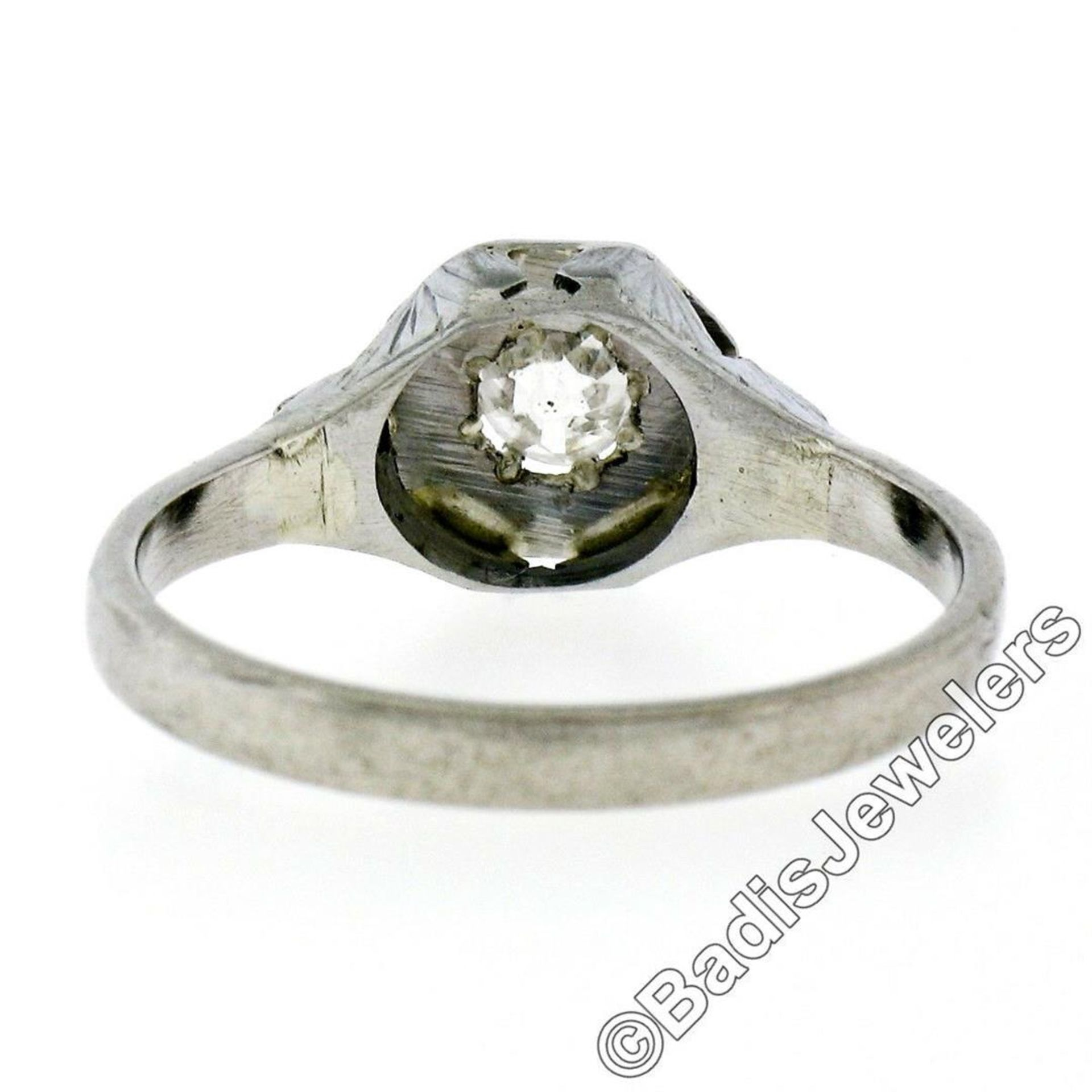 Art Deco 14kt White Gold 0.28ct Diamond Solitaire Engagement Ring - Image 7 of 7