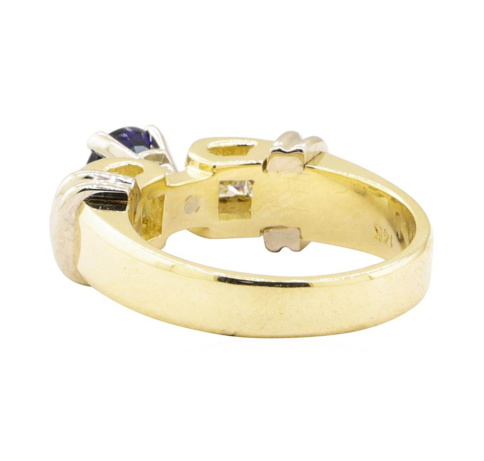 1.67 ctw Blue Sapphire And Diamond Ring - 14KT Yellow And White Gold - Image 3 of 5