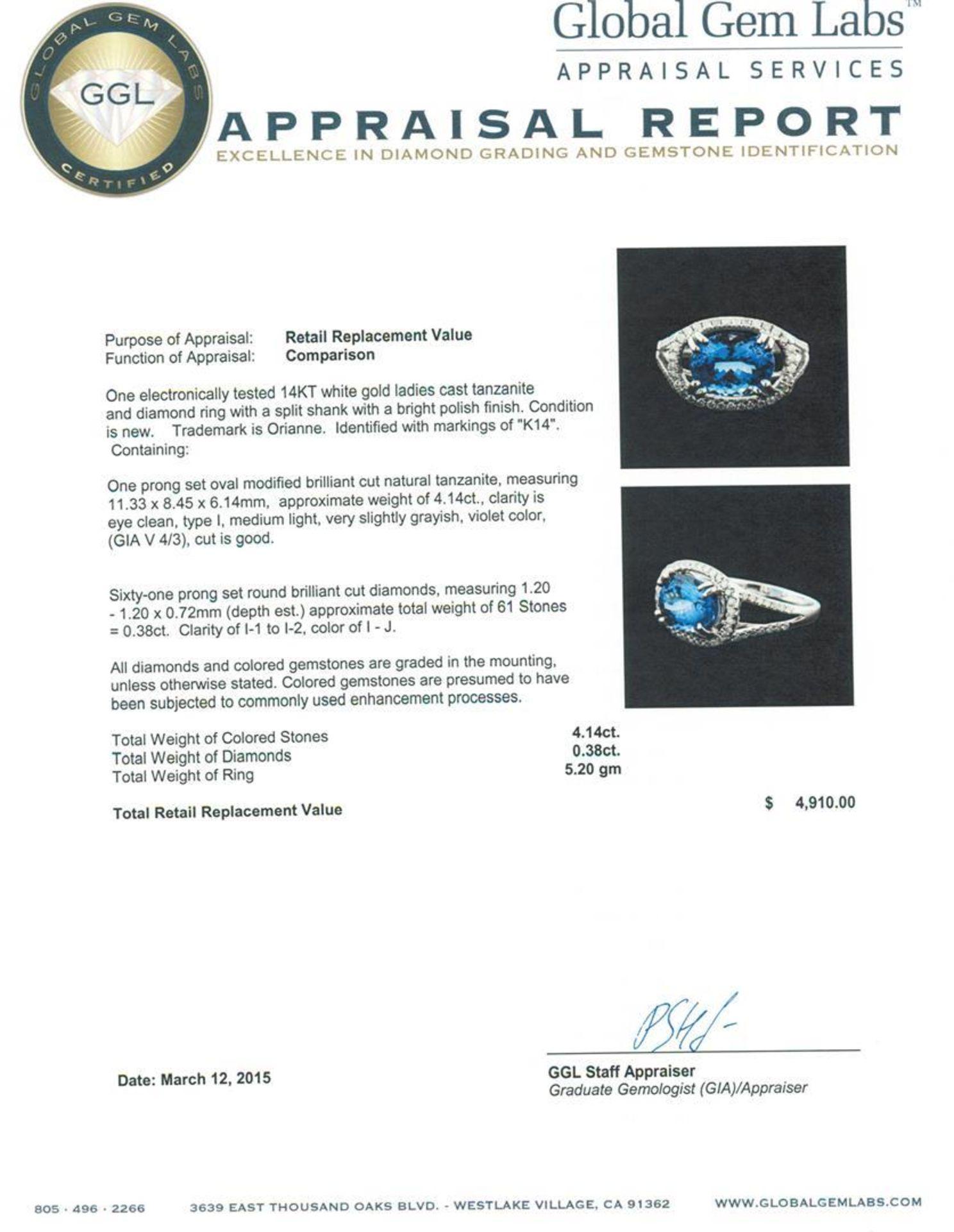 14KT White Gold 4.14 ctw Tanzanite and Diamond Ring - Image 5 of 5