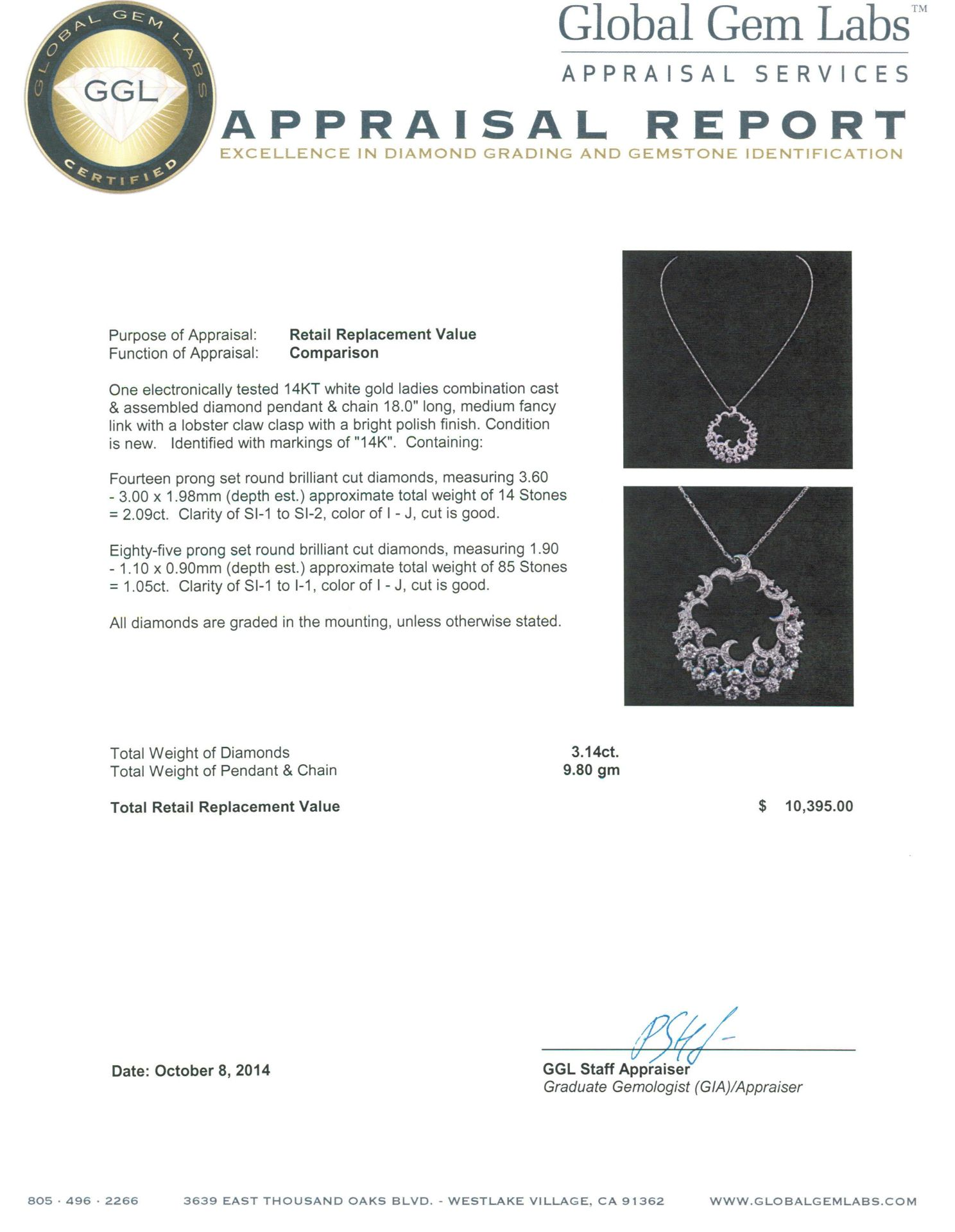 14KT White Gold 3.14 ctw Diamond Pendant With Chain - Image 3 of 3