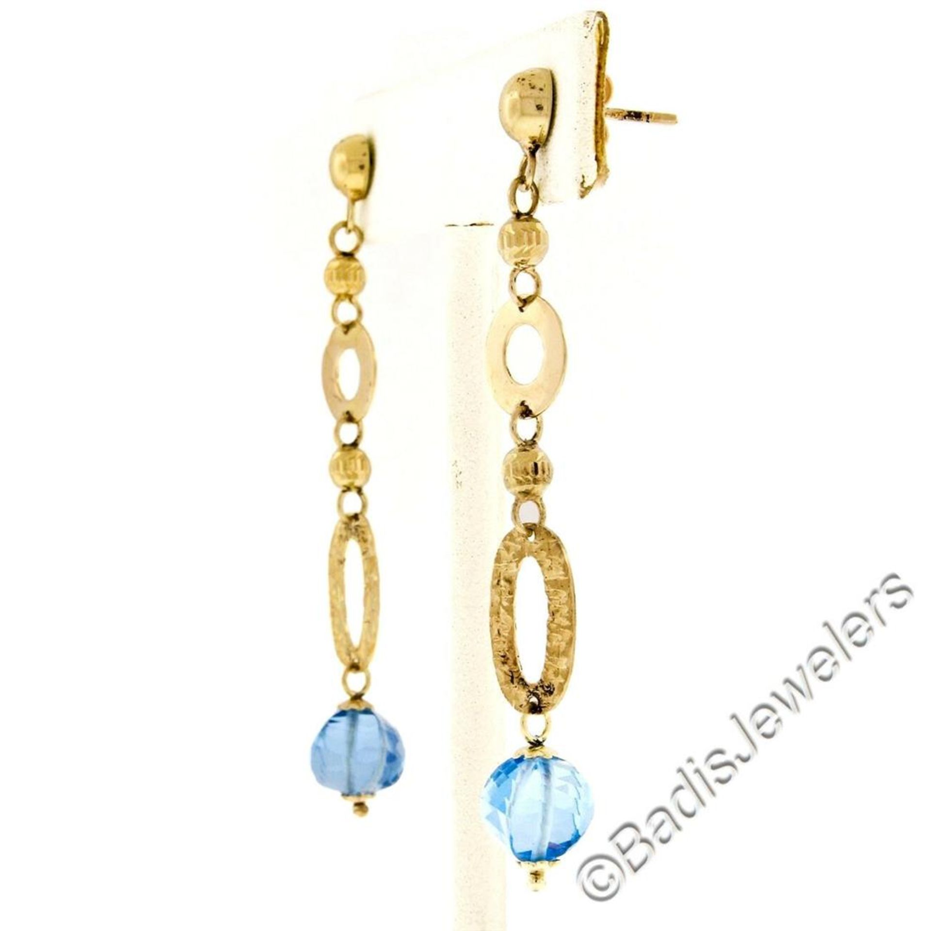 14kt Yellow Gold Briolette Cut Blue Topaz Bead Long Textured Dangle Earrings - Image 3 of 6