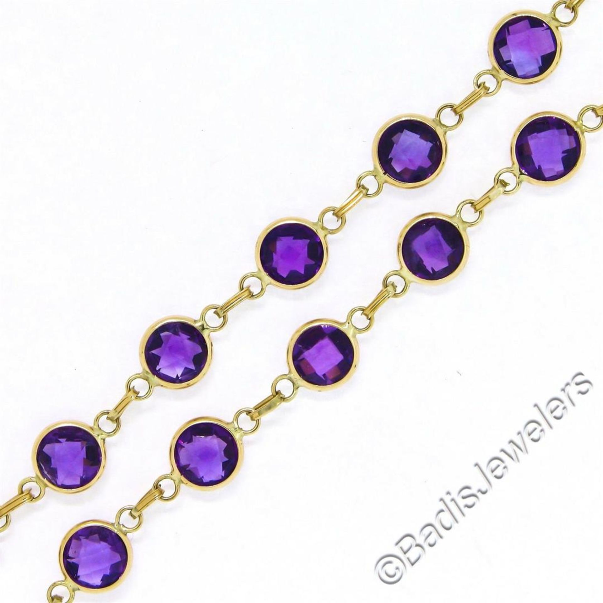 14kt Yellow Gold 10.50ctw Round Checkerboard Amethyst by the Yard Chain Bracelet