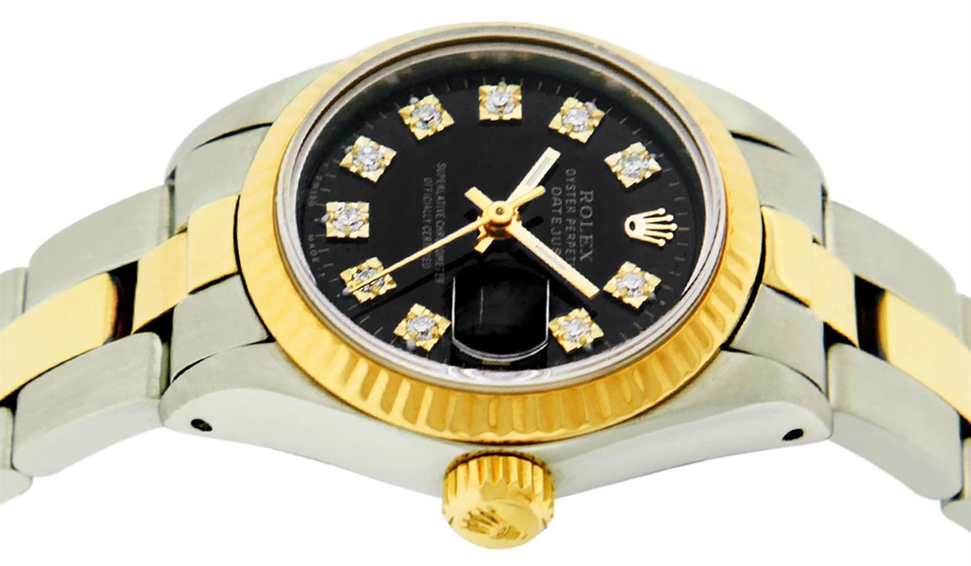 Rolex Ladies 26 Black Diamond Oyster Perpetual Datejust Polished Serviced - Image 9 of 9