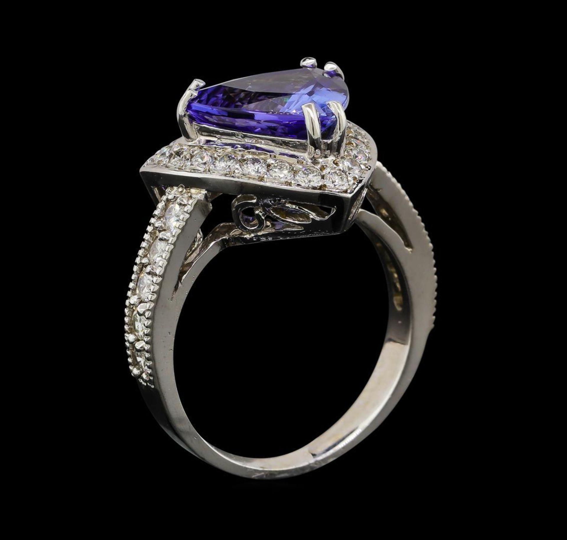 3.72 ctw Tanzanite and Diamond Ring - 14KT White Gold - Image 4 of 5