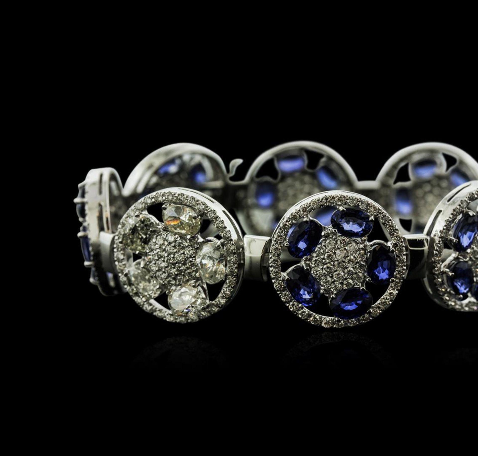 14KT White Gold 21.00 ctw Sapphire and Diamond Bracelet - Image 2 of 4