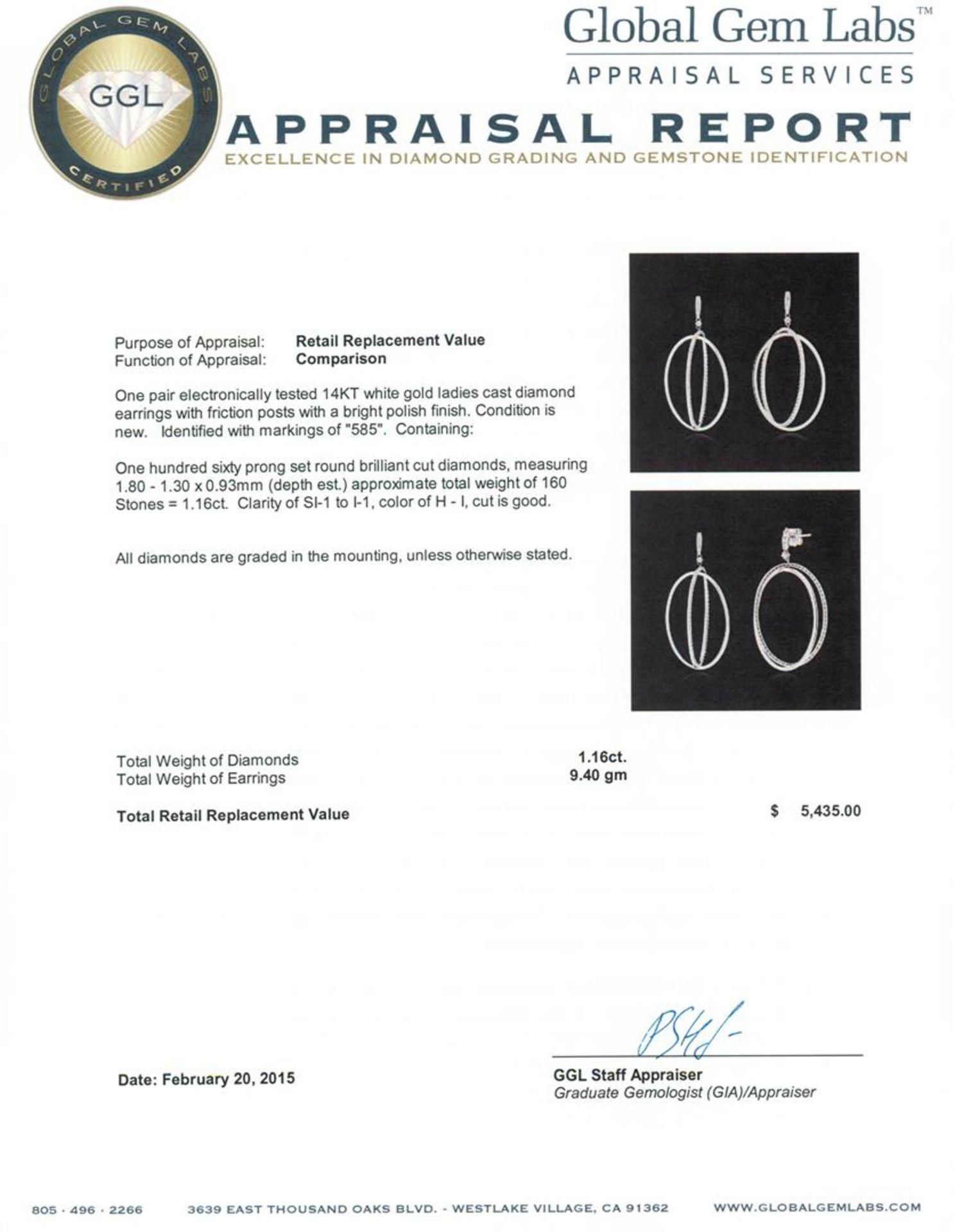 14KT White Gold 1.16 ctw Diamond Earrings - Image 3 of 3