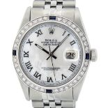 Rolex Mens Stainless Steel MOP Roman 36MM Diamond & Sapphire Datejust Wristwatch