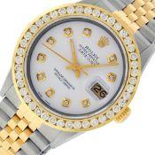 Rolex Mens 2 Tone White Diamond 3ctw Channel Set Datejust Wriswatch