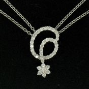 18K White Gold 1.15ctw F VS2 Diamond Cluster Star Double Cable Chain Necklace