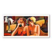 """Michael Kerzner, """"Sisters"""" Hand Signed Limited Edition Serigraph on Paper with L"""