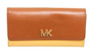 Michael Kors Brown & Yellow Montgomery Flap Wallet