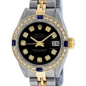 Rolex Ladies 2 Tone Black Diamond & Sapphire 26MM Oyster Datejust Wristwatch