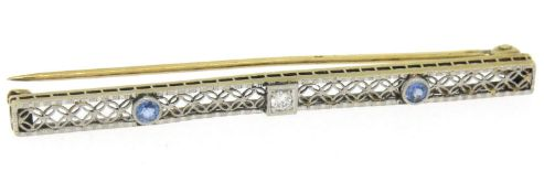 Antique Two Tone 14kt Gold Diamond & Synthetic Sapphire Open Filigree Bar Pin