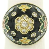 14K Yellow Gold Diamond Black Blue Green Yellow Enamel Dome Flower Ring