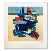 "Claude Fauchere, ""Beach Hideout"" Hand Signed Limited Edition Serigraph on Paper"