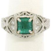 Platinum 1.04ct Radiant Emerald & Diamond Milgrain Filigree Etched Cocktail Ring