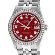 Rolex Mens Stainless Steel Red String Diamond 36MM Datejust Wristwatch